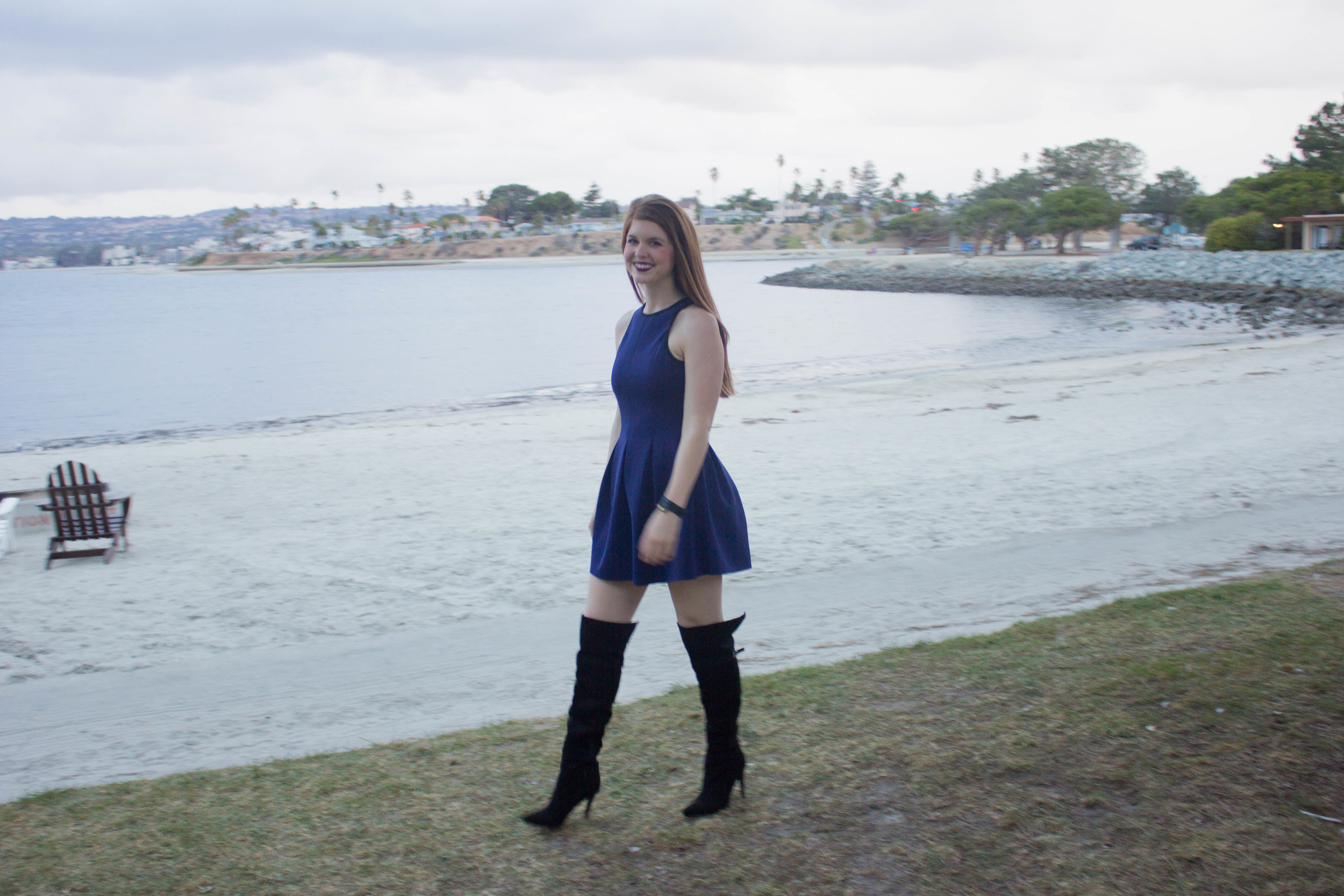 chinese laundrey over the knee boots, navy scuba dress, nyx lipstick