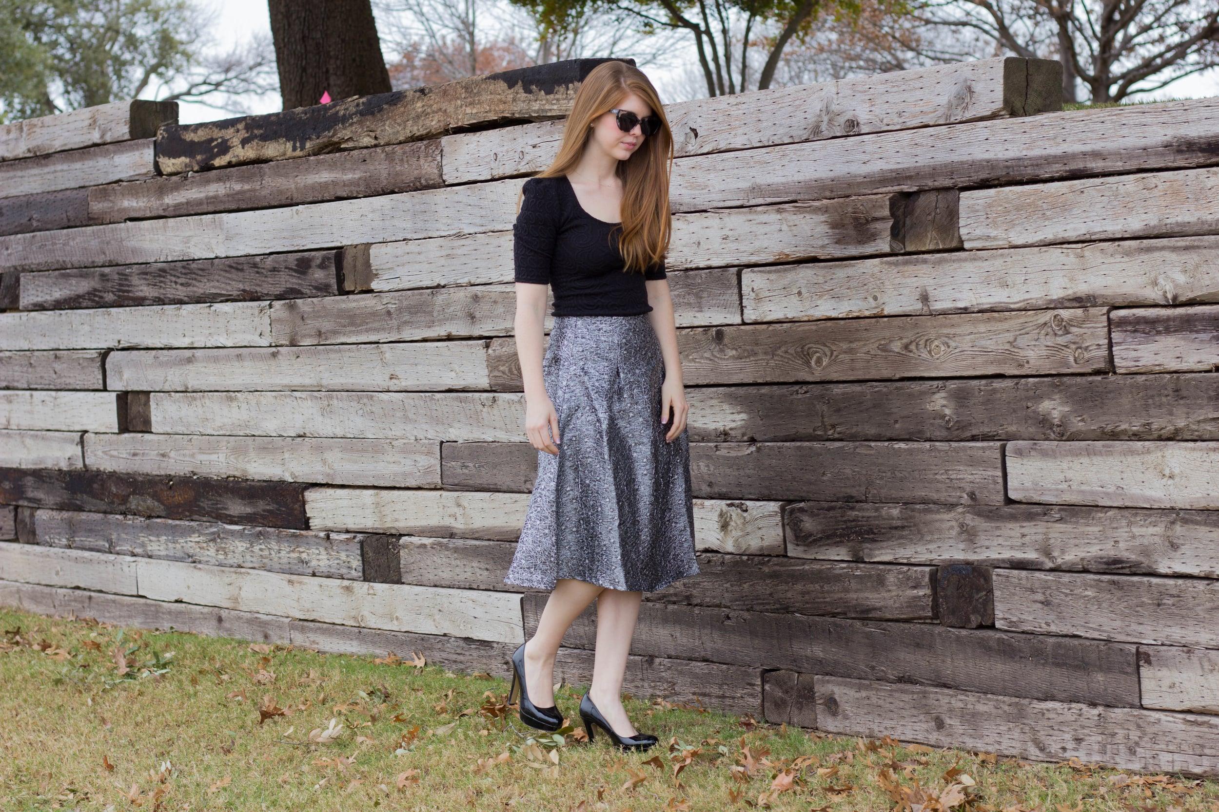 sparkle midi skirt, ditto endless eyewear, prism sunglasses, free sunglasses