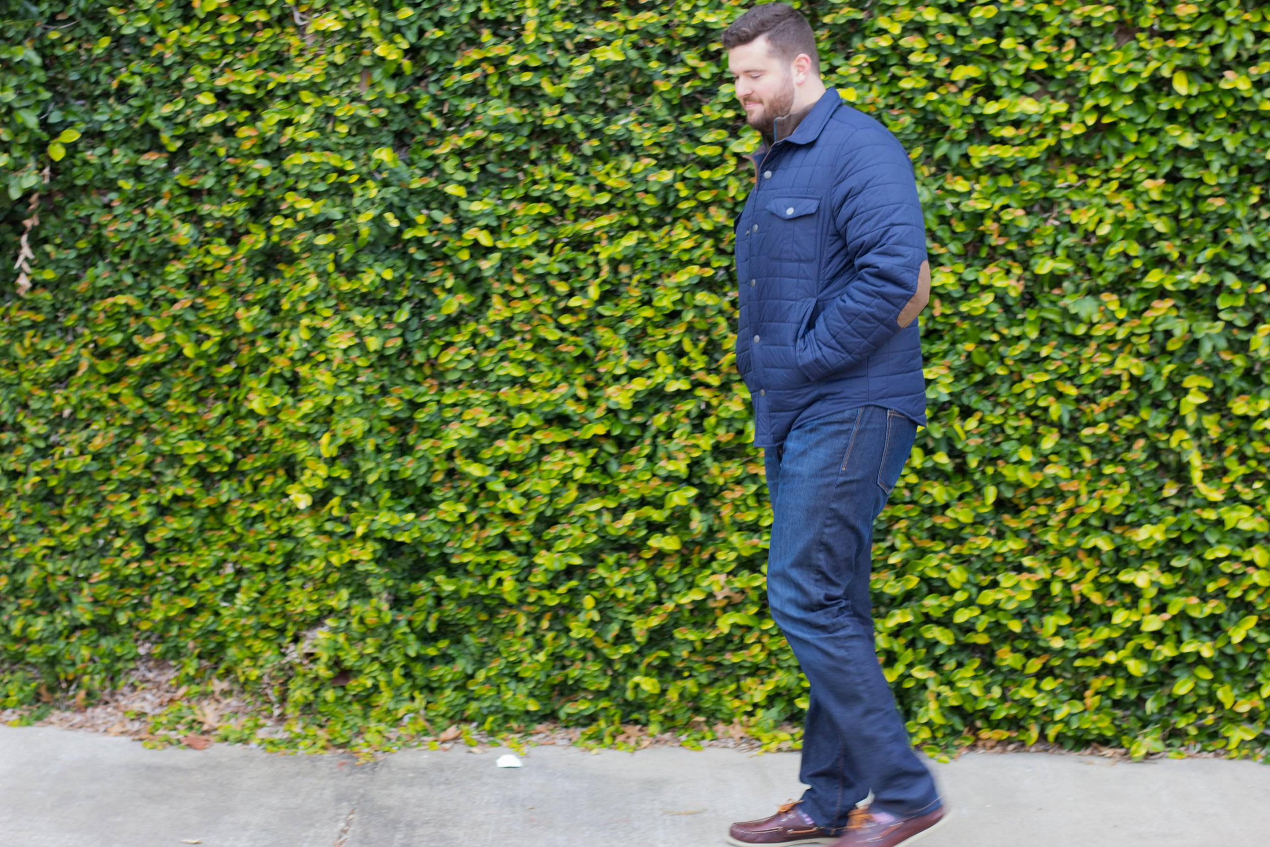 mens puffer jacket, elbow patches, dl1961 jeans, leather sperries