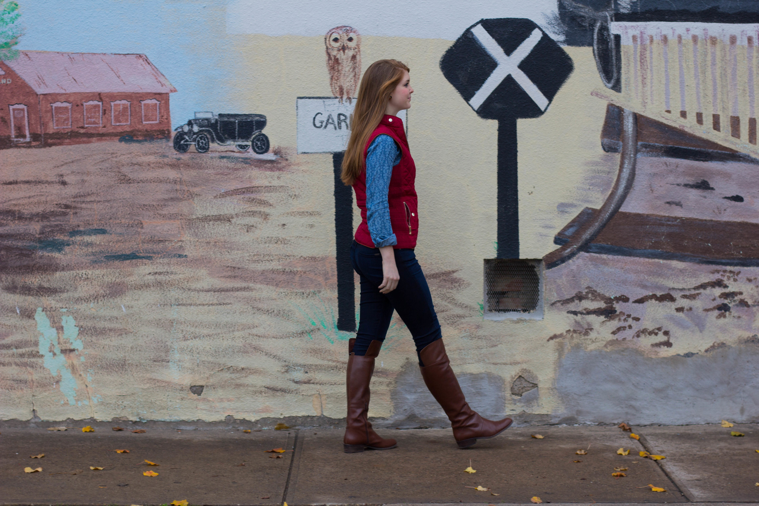 burgundy quilted vest, fidelity jeans, holding horses chambray top, nine west over the knee boots