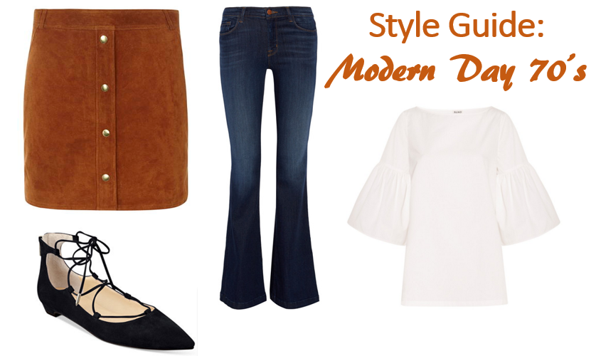 seventies inspiration, lace-up flats, suede skirt, bell sleeves, j brand flares