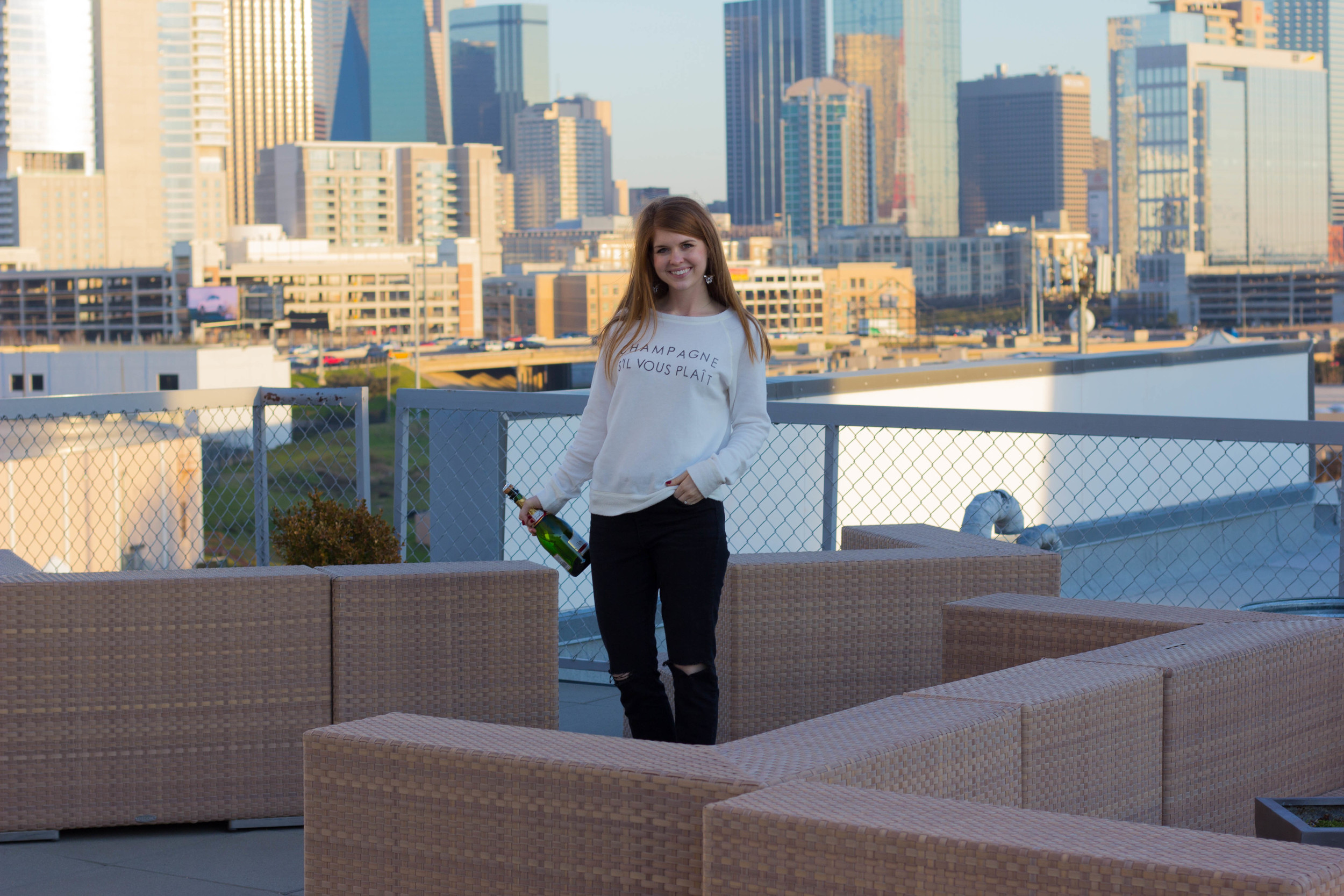 daydreamer champagne crew, pistola ripped jeans, frye boots, dallas, skyline
