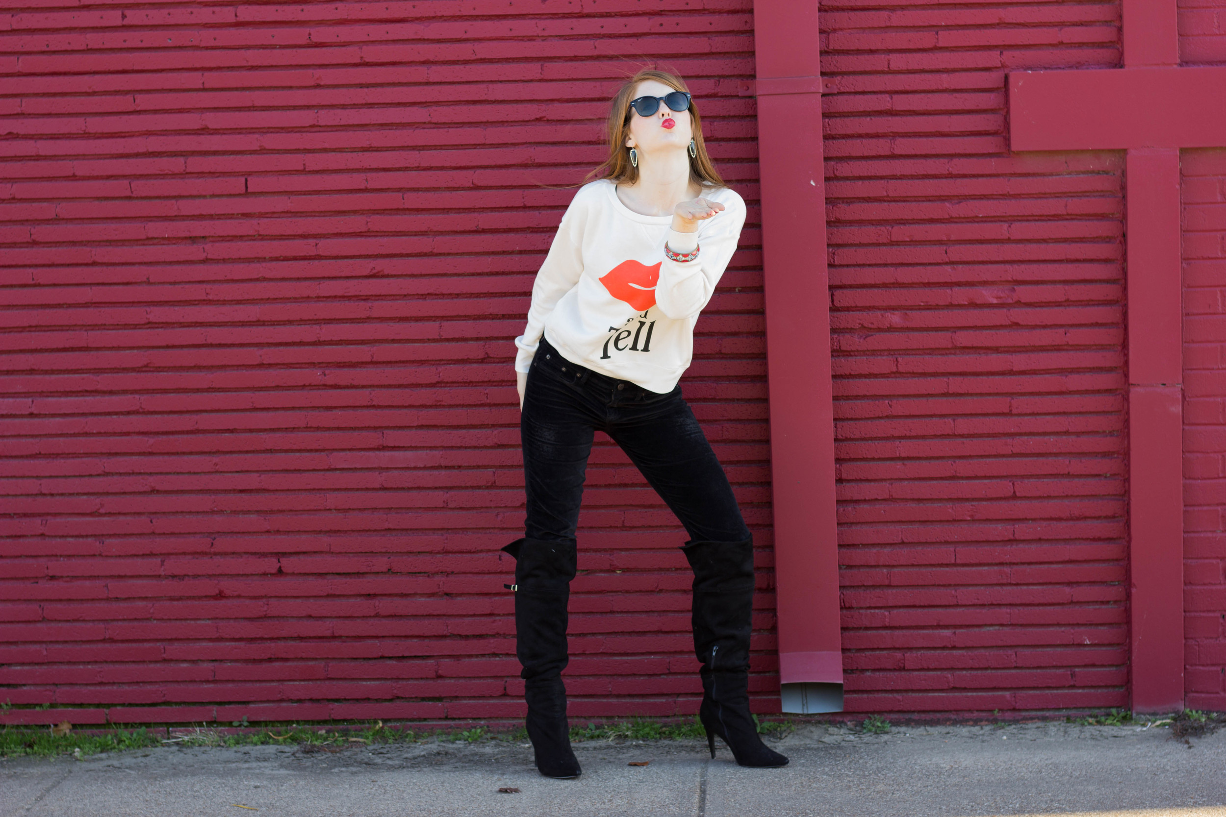 wildfox kiss and tell crew, chinese laundry over the knee boots, kendra scott earrings, rayban sunglasses