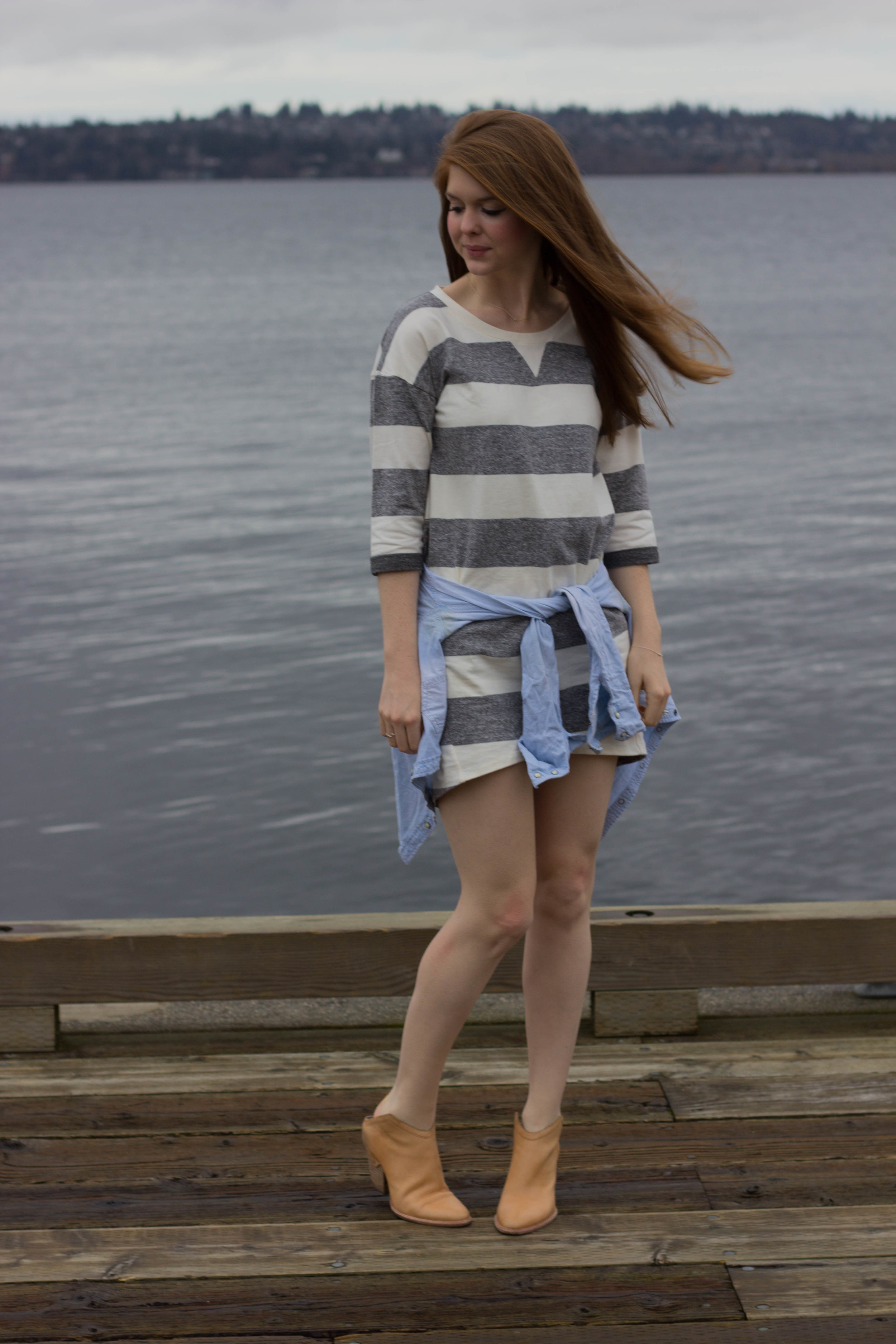 the woodmark hotel, seattle, washington, lake washington, haku booties, chambray top, ellison striped dress, the cutest hotel on lake washington