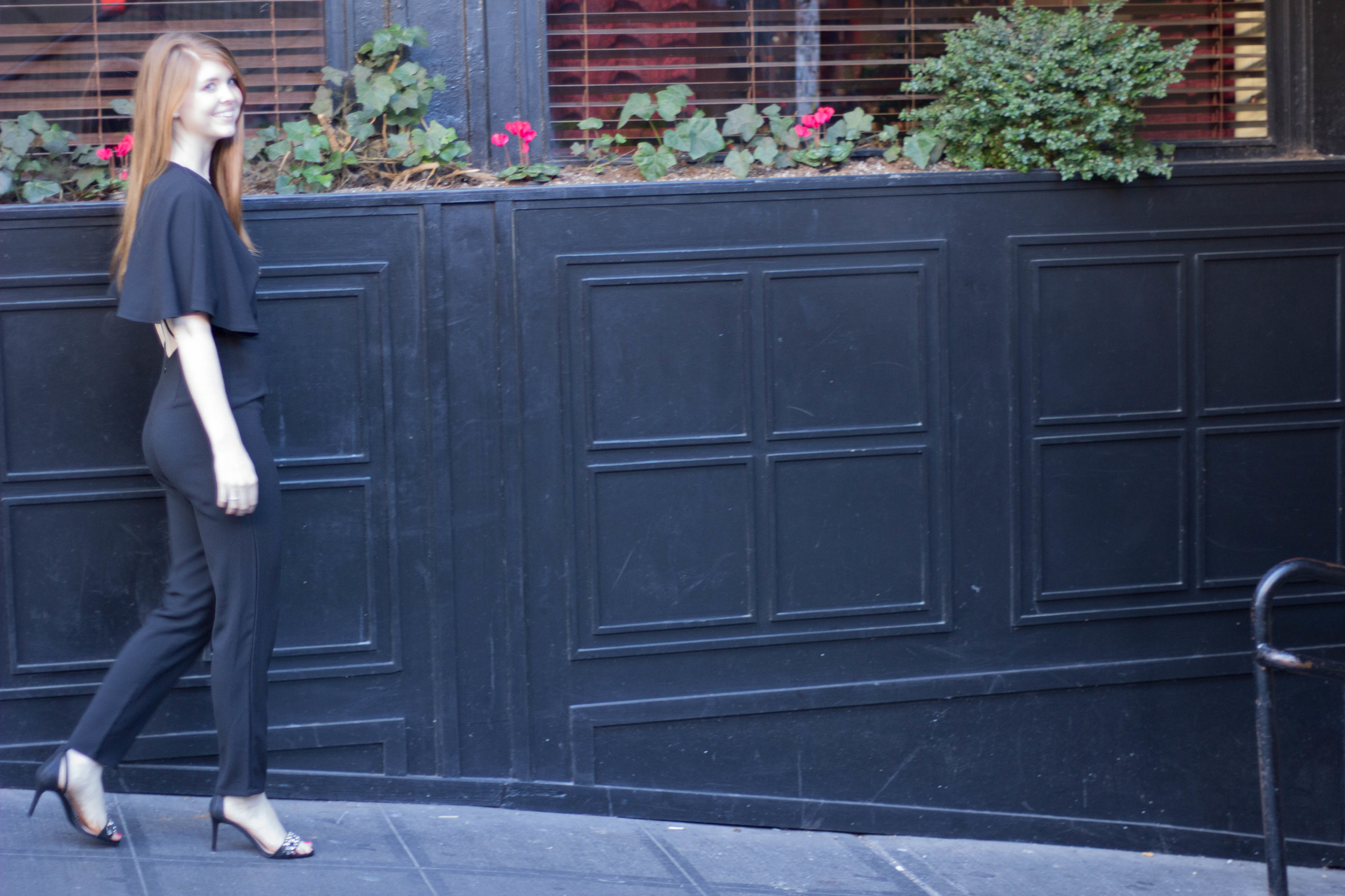 black jumpsuit, cape, tory burch brentford sandal, ghost alley, seattle, fuller's jewelry store, engagement ring store dallas
