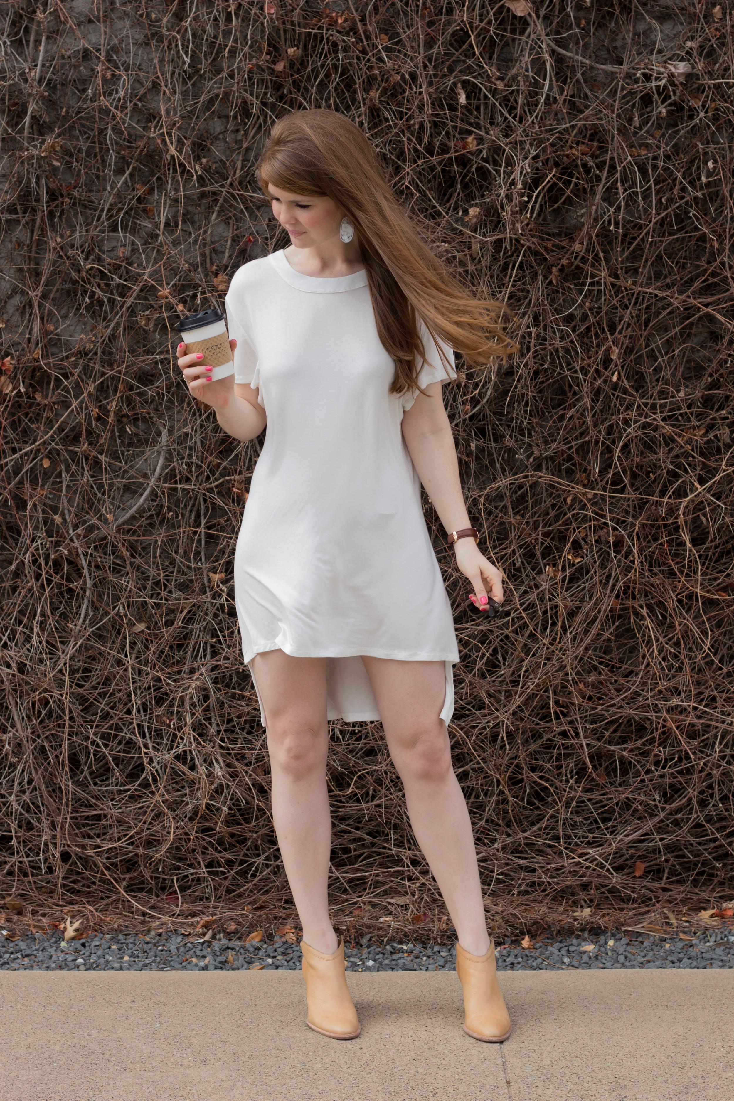 POL white backless dress, shopriffraff, haku booties, kendra scott, all about that bass(ics), basic