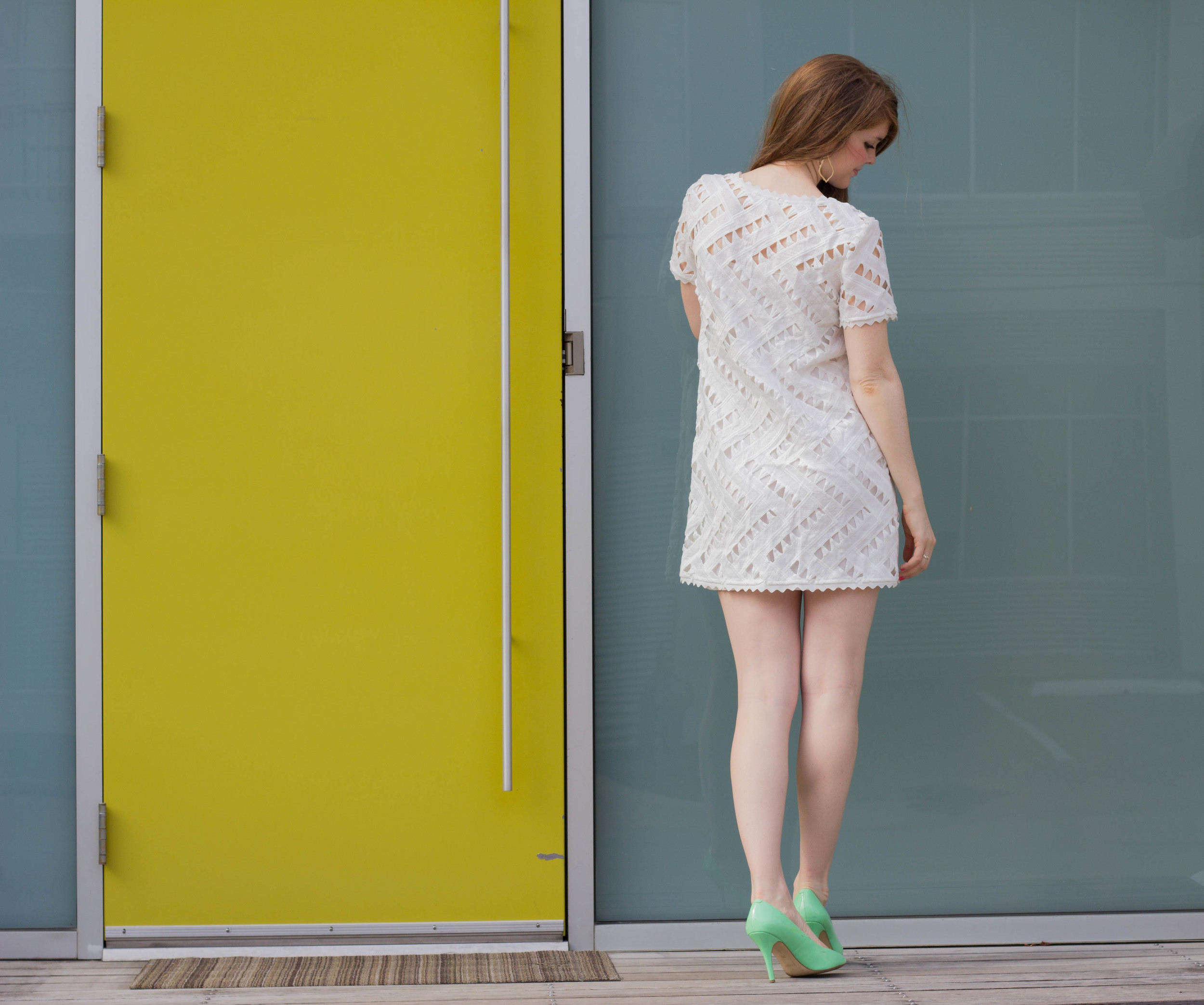sugar + lips shopriffraff white cutout dress, little white dress, little white dress guide, j crew heels, spring clothes, summer clothes