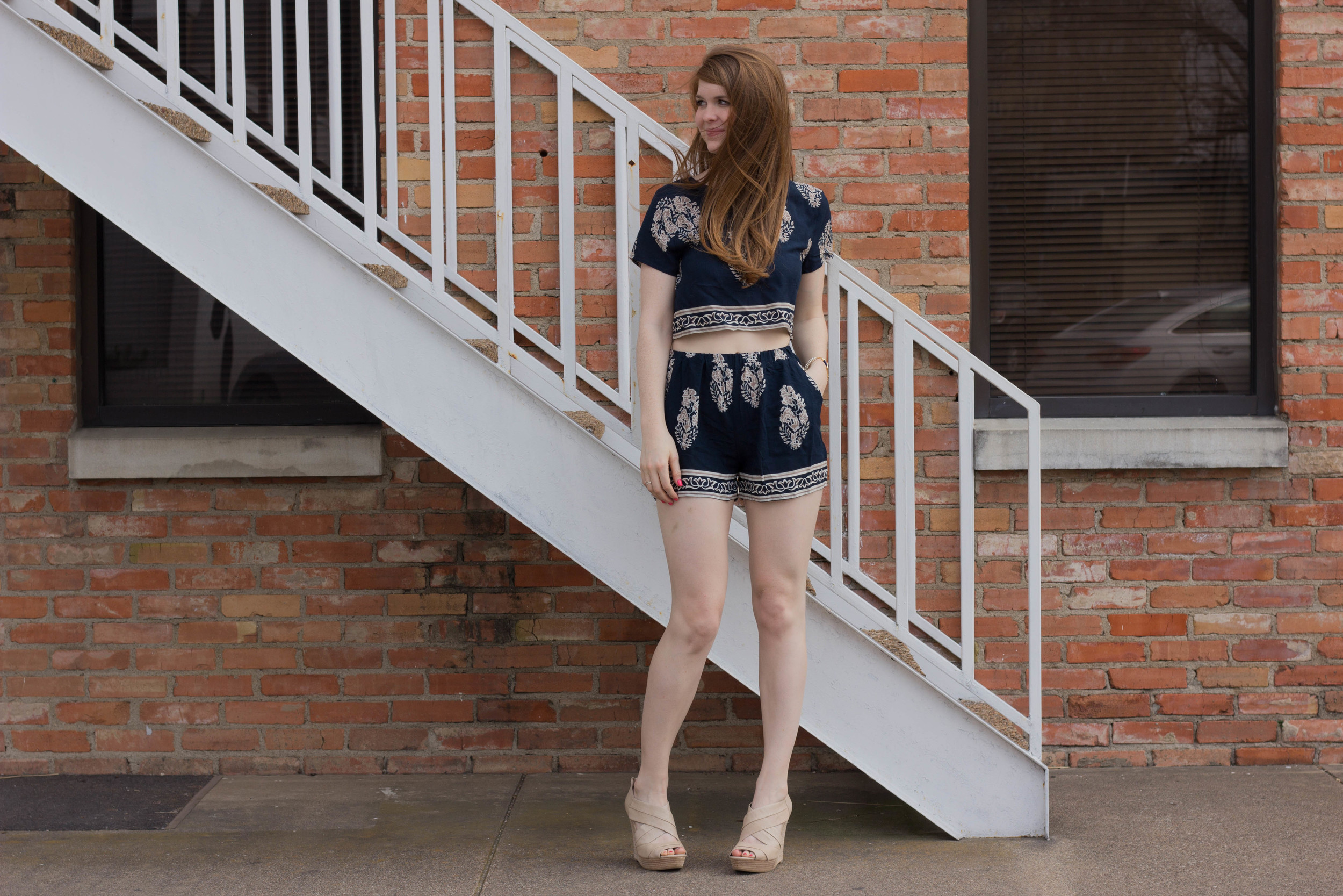 latiste by amy navy floral paisley two piece set, shopriffraff, seychelles wedges
