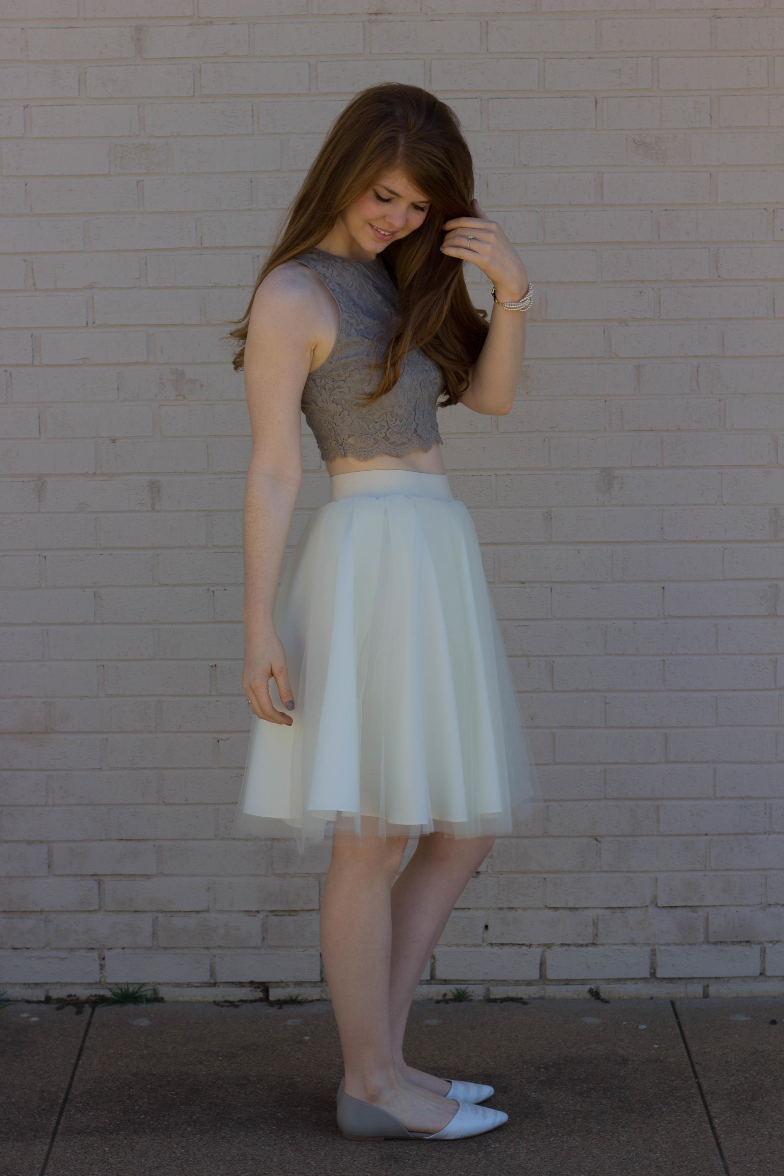 bliss tulle cream skirt, show me your mumu elizabeth crop, BC Footwear Society Flat, Kiel James Patrick Pearl Bracelet