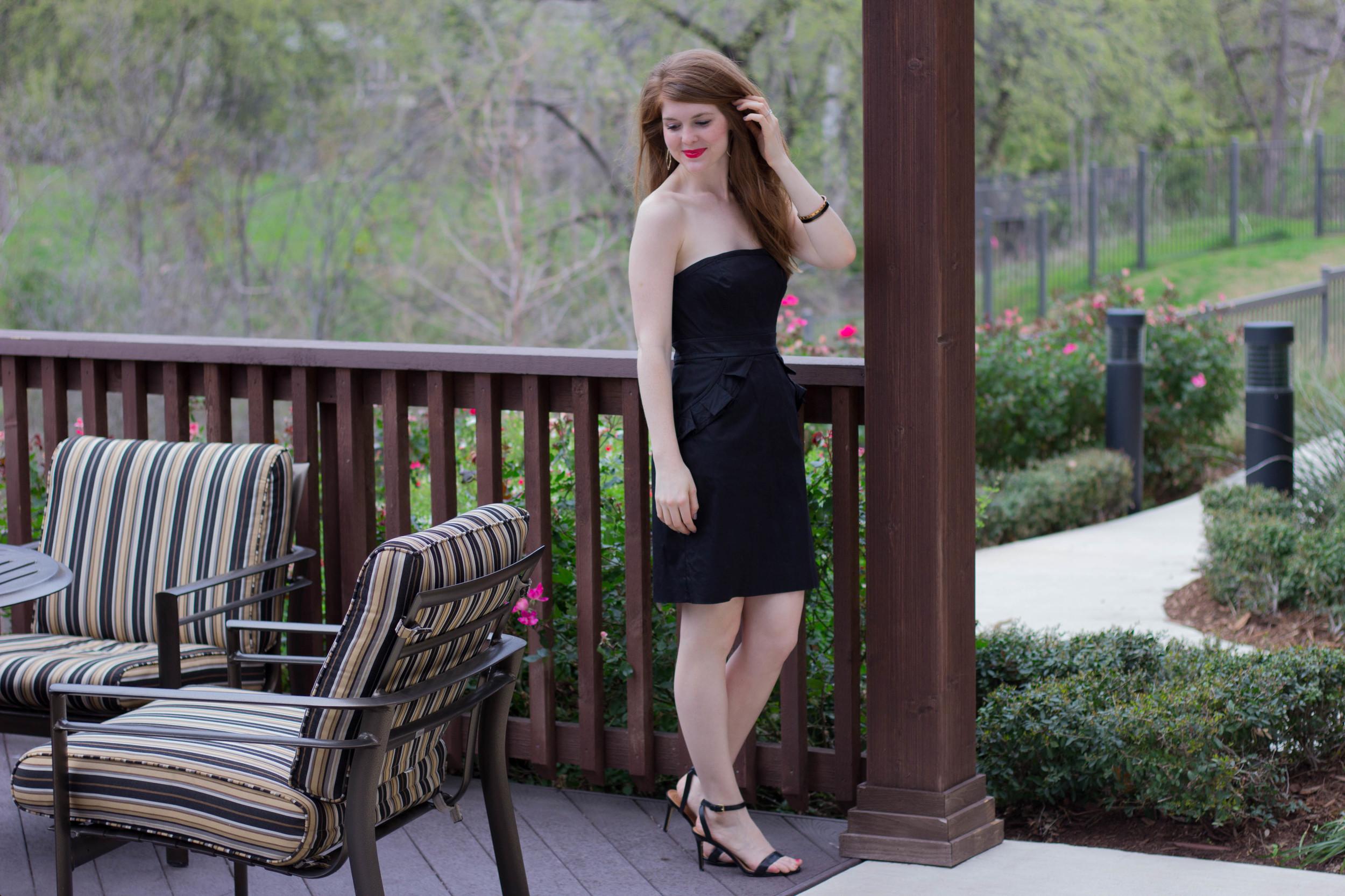 j crew black strapless dress, tory burch ankle strap sandal, cruella lipstick, kendra scott sophee earrings