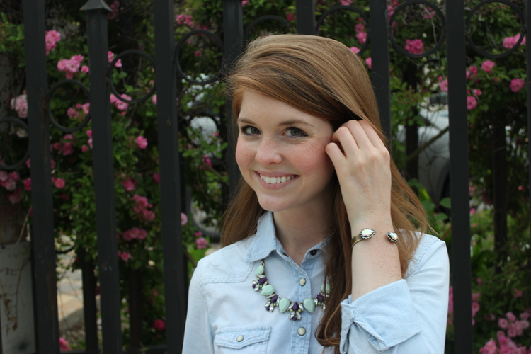 madewell white jeans, j crew chambray shirt, rocksbox necklace