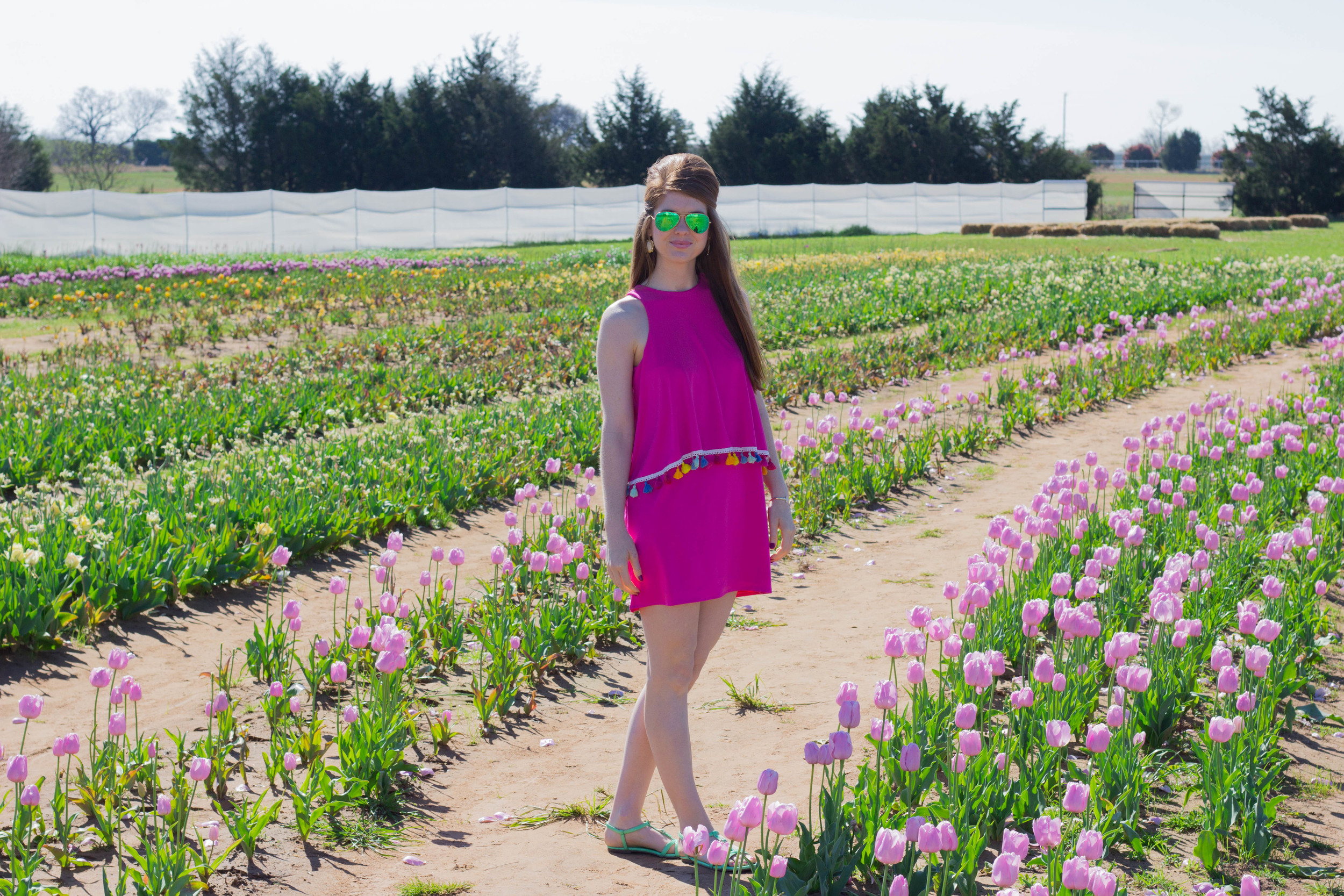 texas tulips pilot point, easter sunday style,  judith march miles from nowhere dress, tassels, trends, kendra scott earrings, j crew sandals
