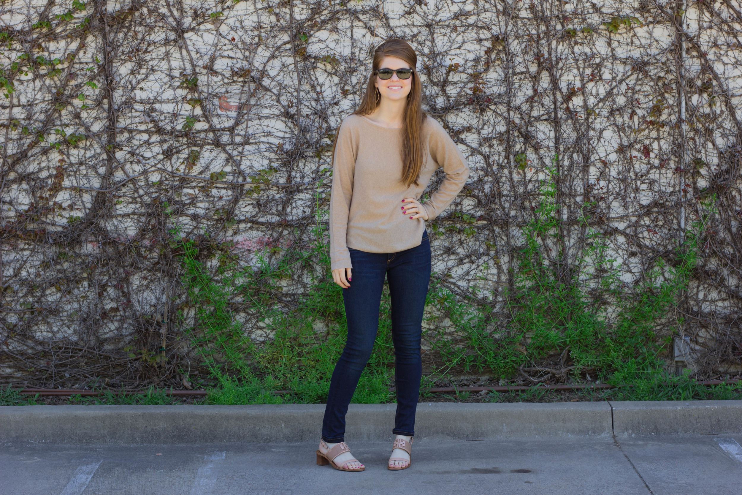 vince cashmere sweater, rag and bone denim, tory burch lowell sandal, kendra scott sophee earrings