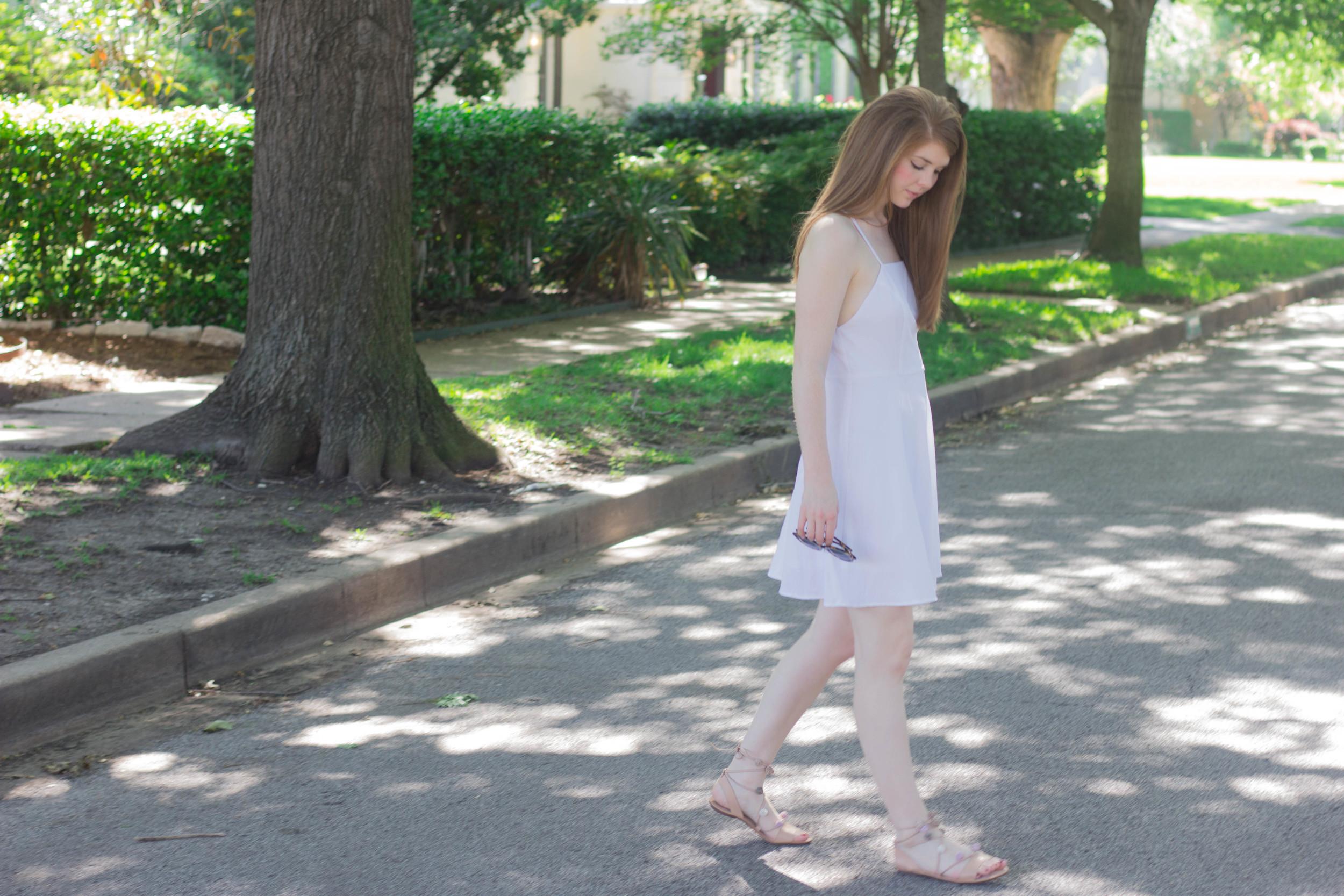 white sundress, loeffler randall saskia pom pom ankle tie lace up sandals, how to shop trends smart, trends, karen walker super sunglasses, kendra scott lauren earrings