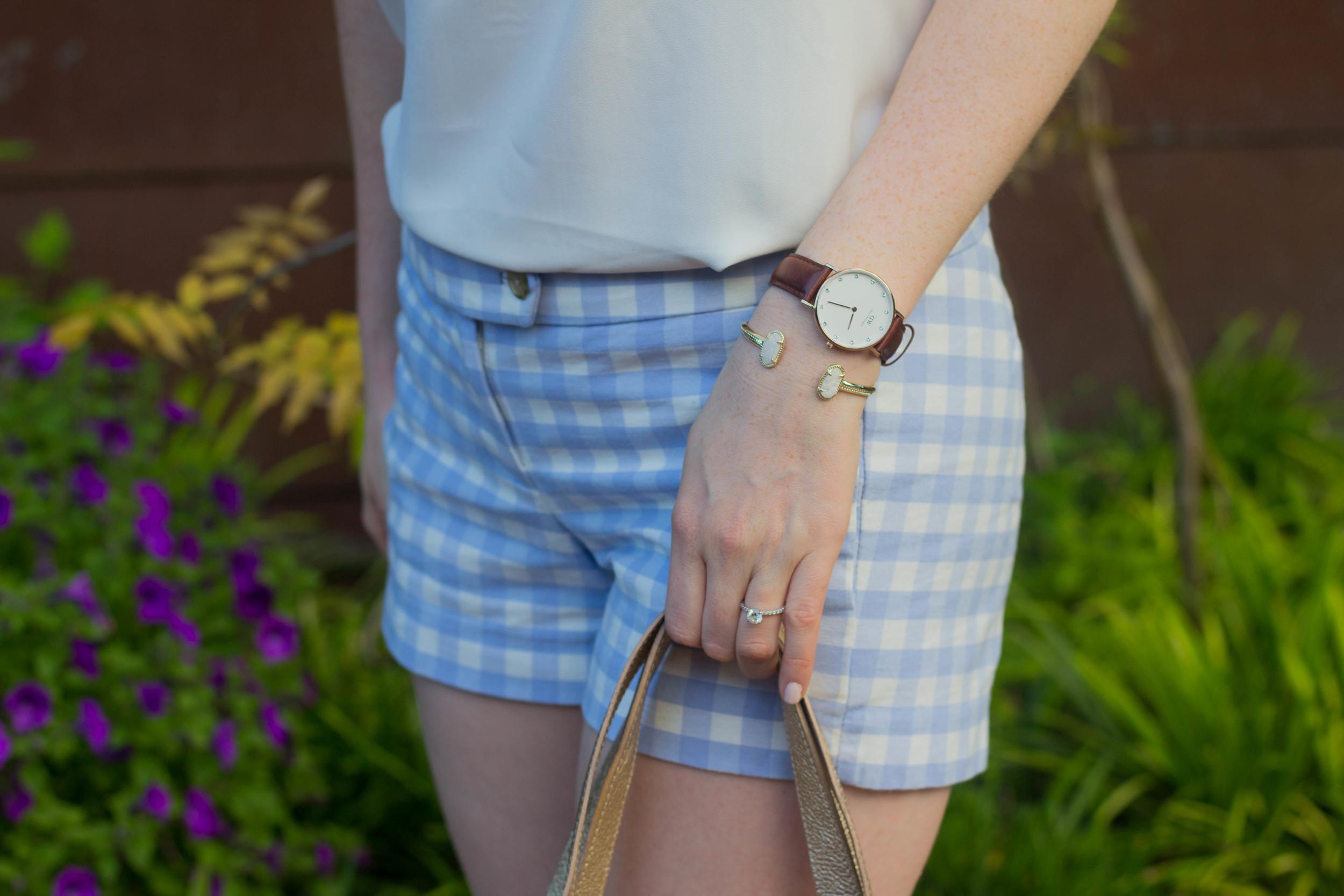 j crew factory light blue gingham shorts, loft white tank top, cuyana carryall, bc cougar wedge sandal, kendra scott sophee earrings
