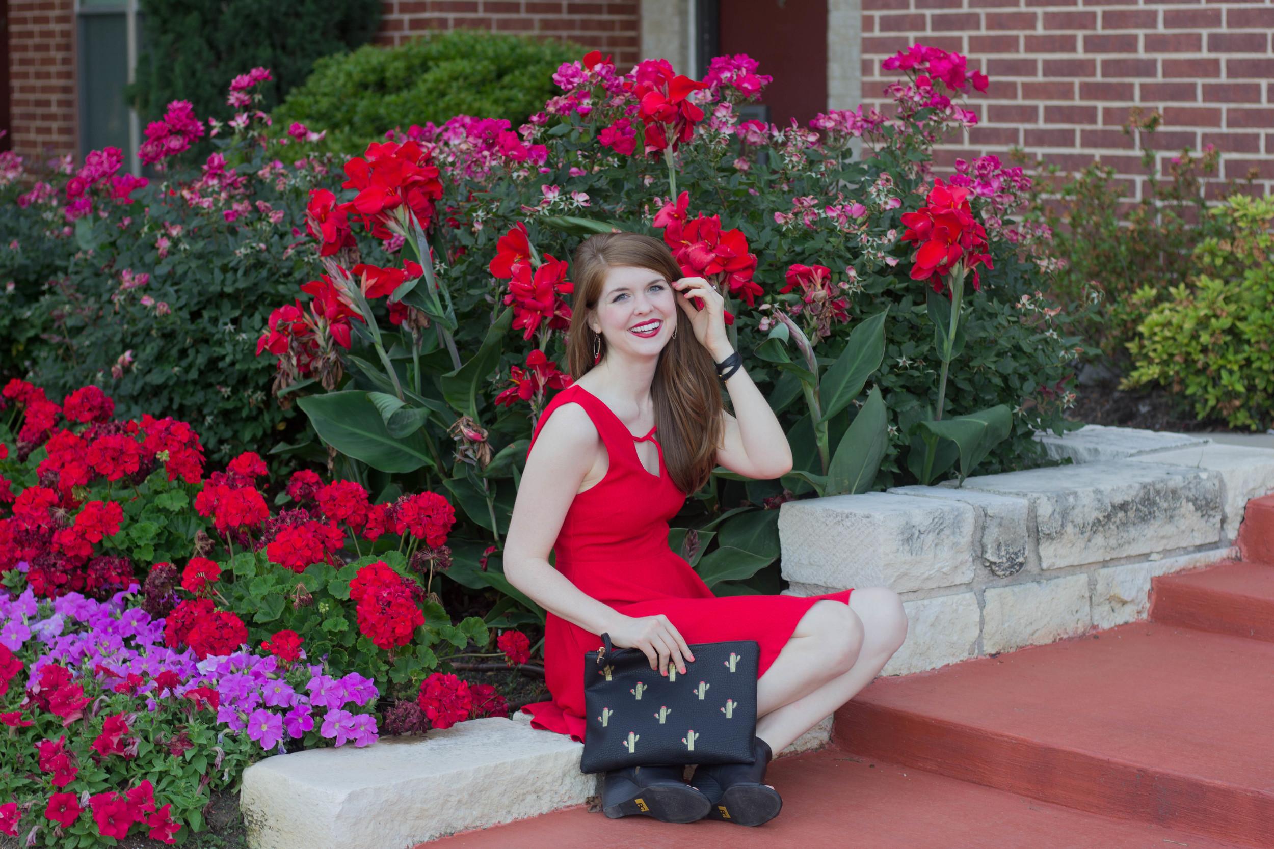 minkpink red dress, bc footwear wedges, street level le tote cactus clutch, kendra scott skylar earrings, nars manhunter lipstick. dancer emoji