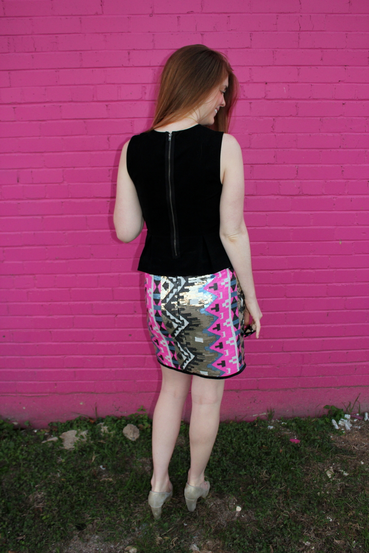 Pine boutique, college station, sequin mini skirt, peplum top, pink wall