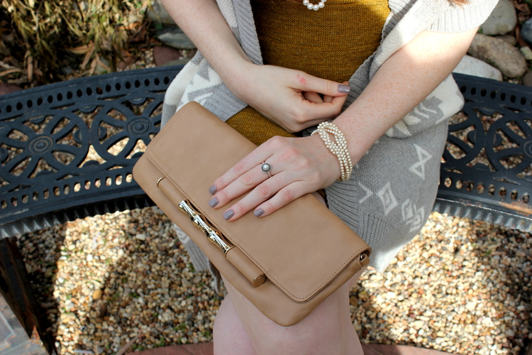 Elaine turner nude clutch, Anthropologie dress, Jessica Simpson nude flats, pearls, dragon park
