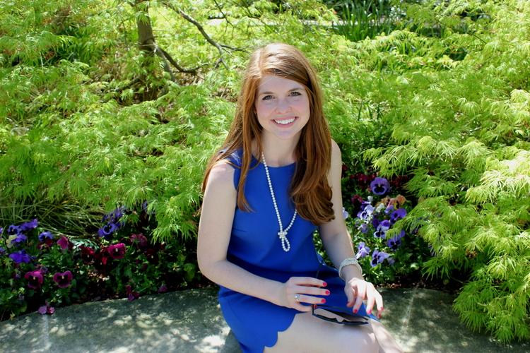 J crew Royal blue scallop dress, pearls, Dallas arboretum, spring style