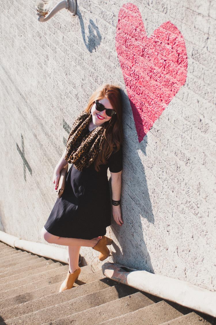 Little black dress, red lips, bishop arts Dallas, j crew leopard scarf