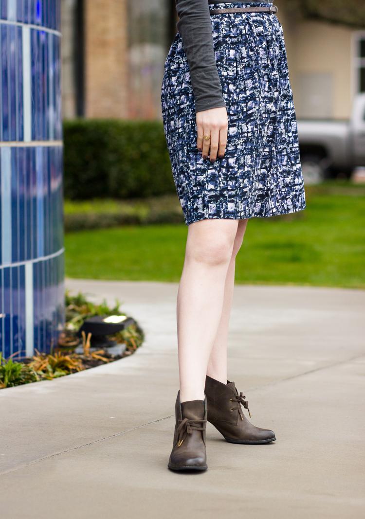 Watercolor skirt, grey turtle neck, Dallas design district
