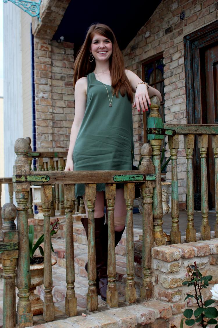 Shift dress, scallop olive dress, Nine West over the knee boots, Kendra Scott sophee earrings