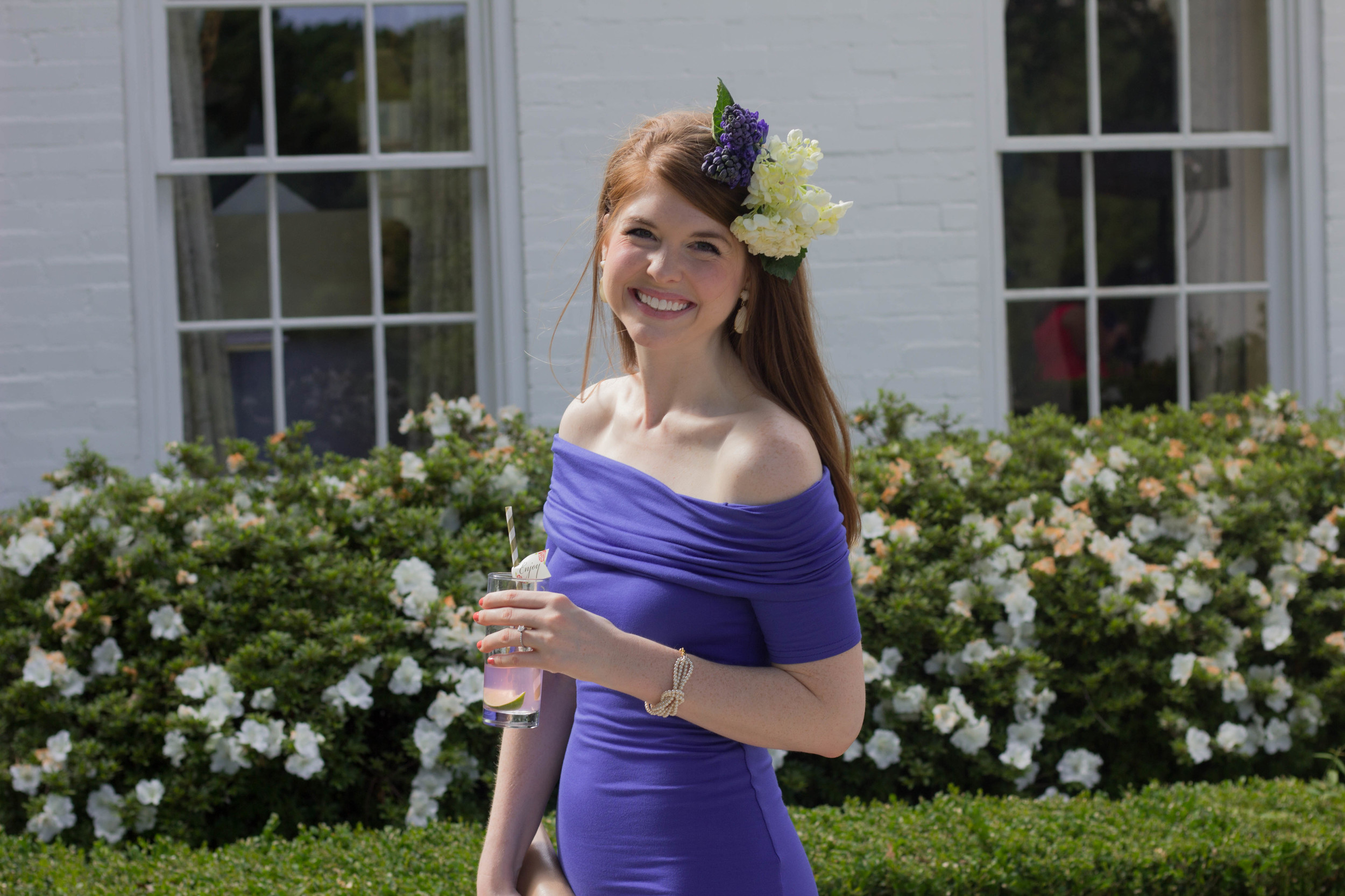 diy fresh flower fascinator, kentucky derby style, florals, asos bardot royal blue off the shoulder dress, elaine turner clutch, jessica simpson nude heels