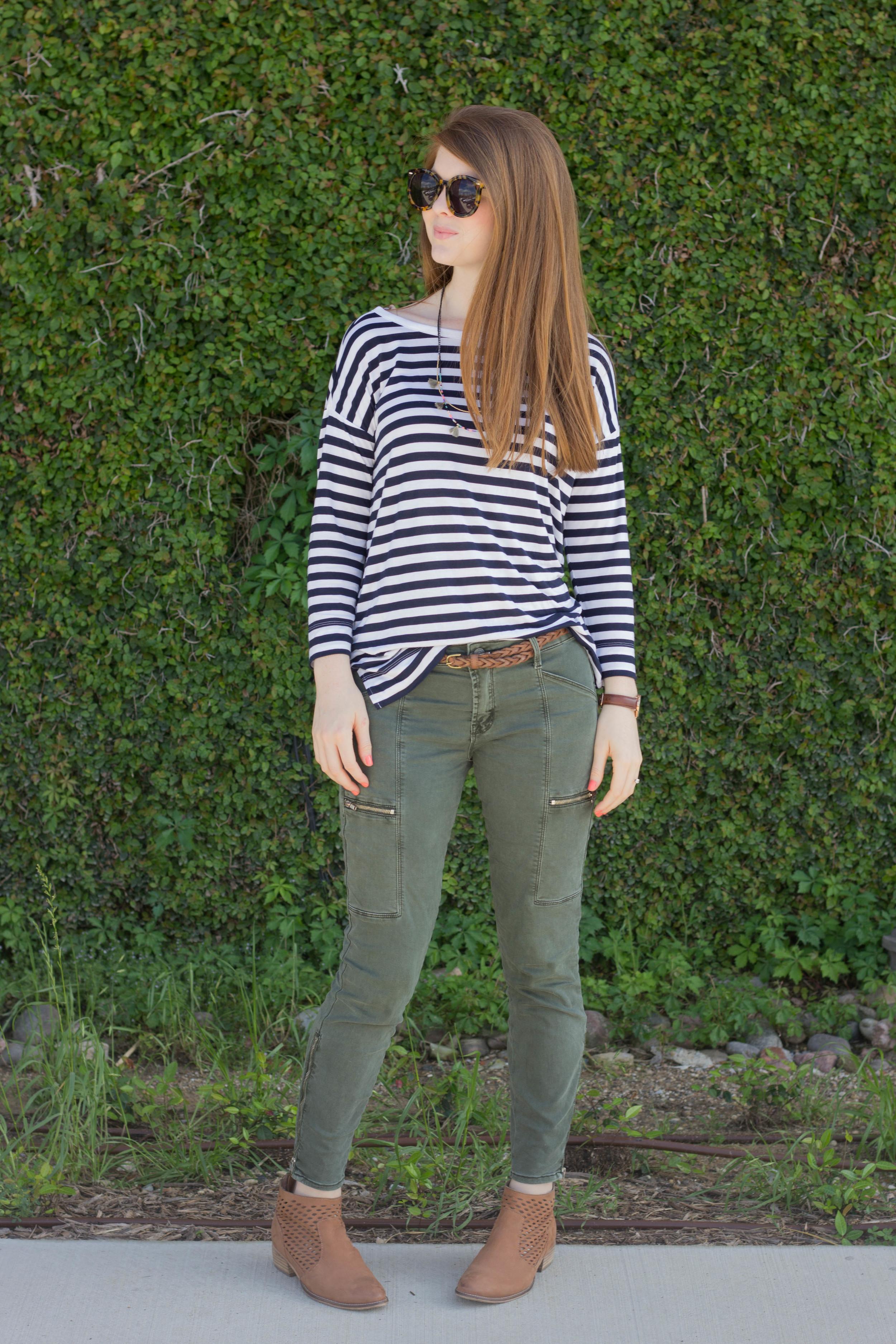 karen walker sunglasses, loft striped dolman tee, olive green pants, shashi tassel necklace