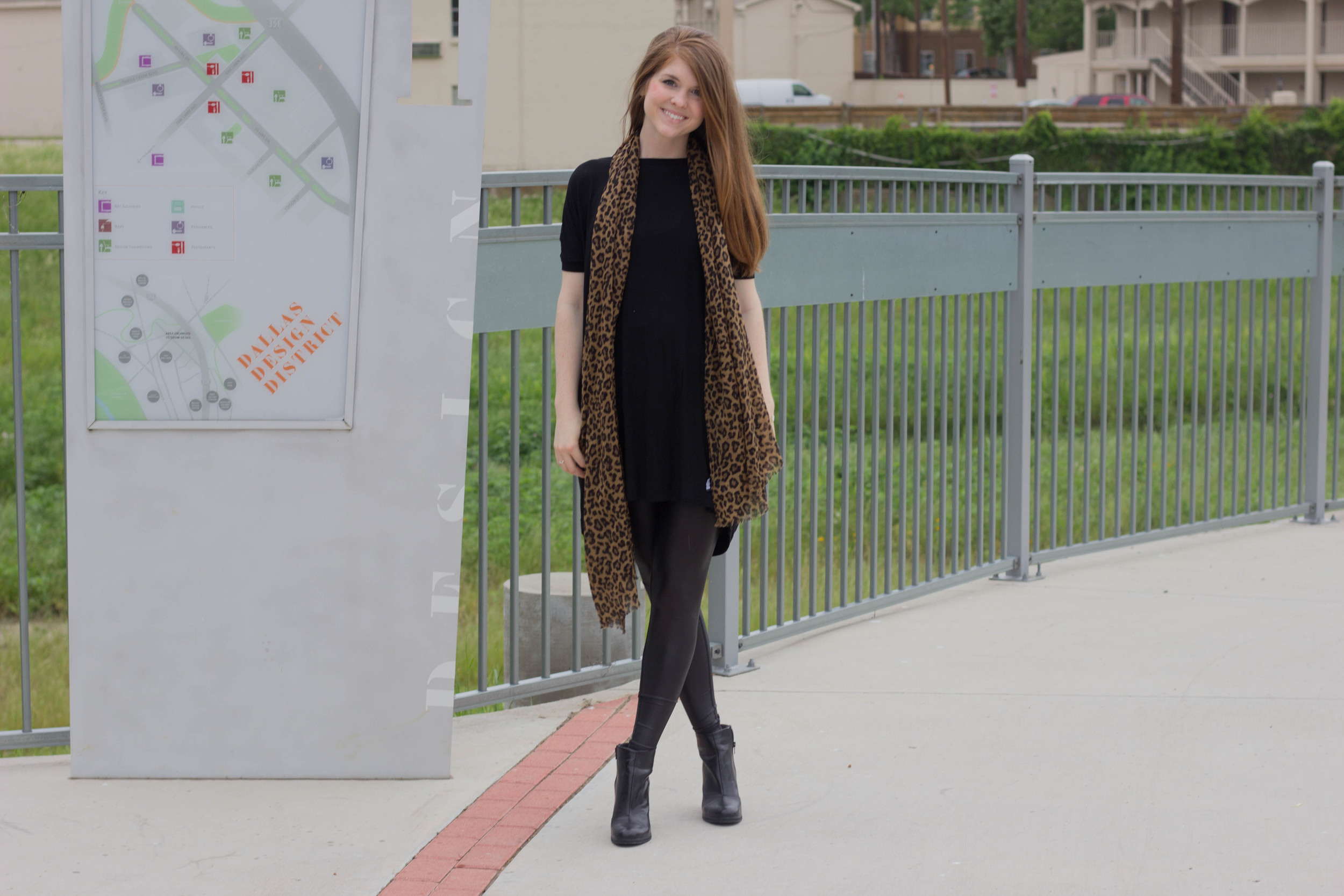 black piko tunic, lurv men are from mars leggings, leopard scarf, bc footwear ankle boots, style squared, from work to working ou