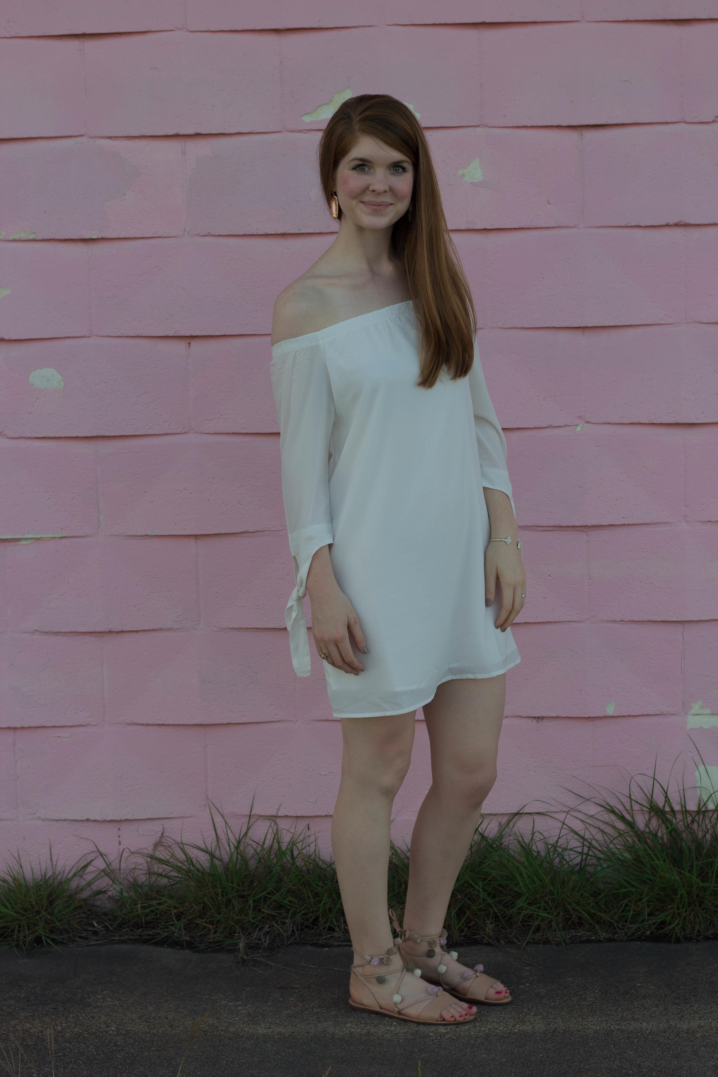 Miss Genial Off Shoulder Dress, Tobi, Off the shoulder white dress, pom pom lace up sandals, loeffler randall, kendra scott lauren earrings