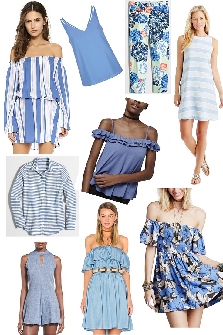 pantone serenity, the perfect shade for summer, cornflower blue, light blue, shopbop, asos, topshop, nordstrom, jmclaughlin, j crew factory