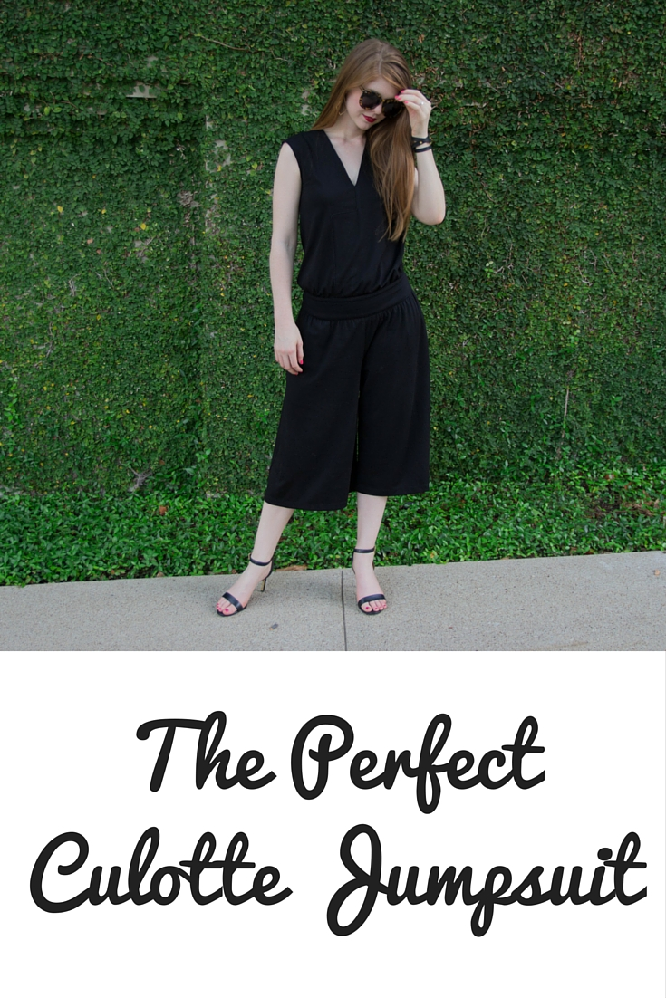 the perfect culotte jumpsuit, cultro clothing, nyc, lbd, karen walker sunglasses, tory burch heels