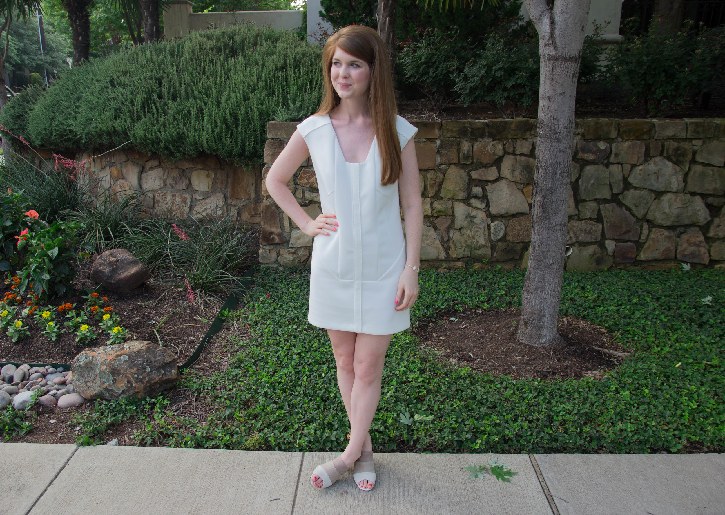 cultro dumbo white dress, scuba dress, how to wear white when you're pale, hush puppies suede slides
