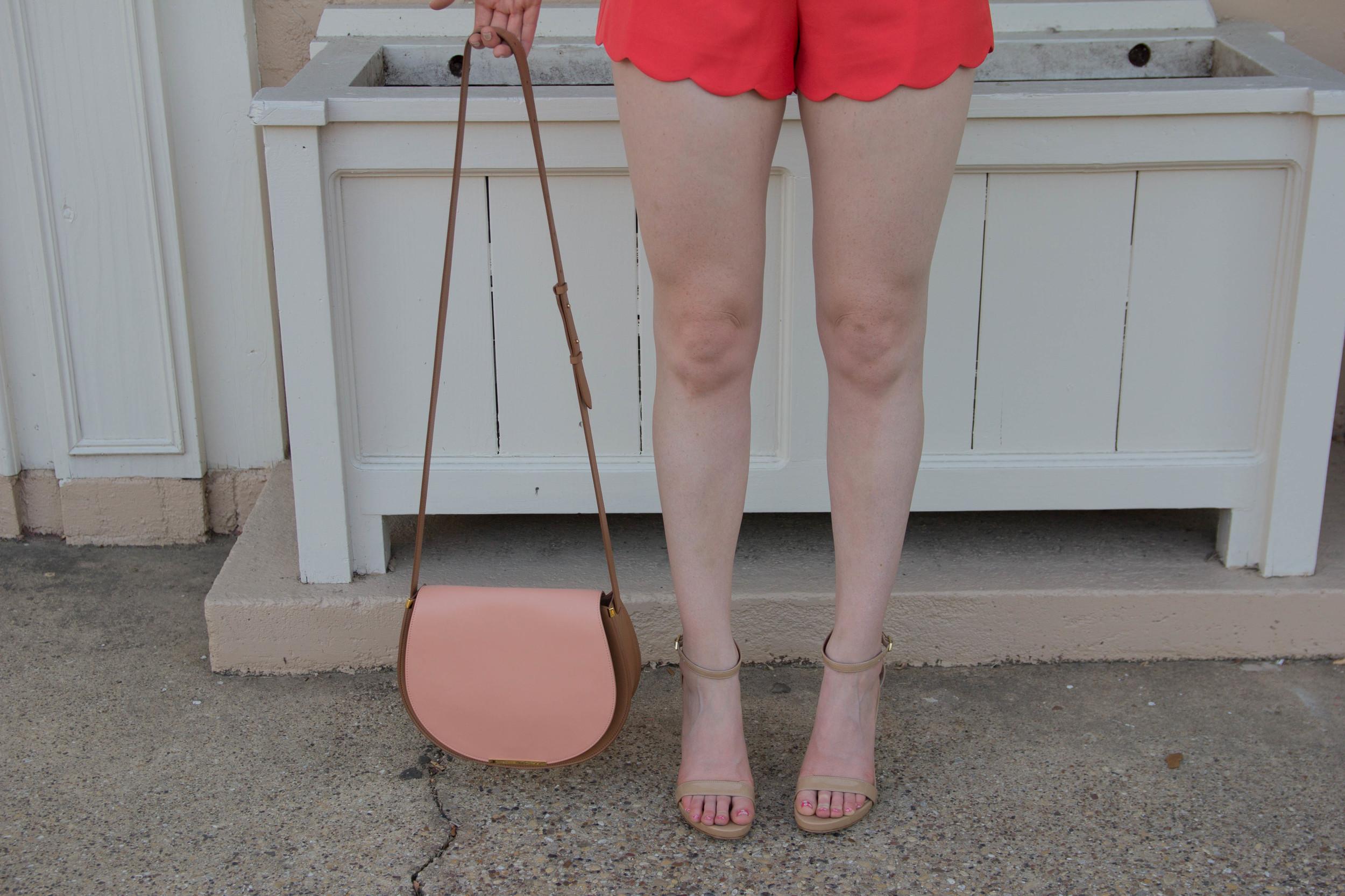 storee romper, scallops, sam edelman strappy sandal, cuyana saddle bag pirse