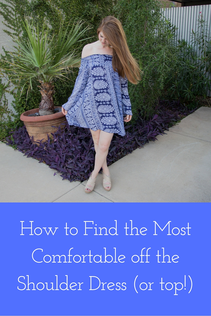 how to find the most comfortable off the shoulder dress or top, nordstrom blue paisley off the shoulder dress, band of gypsies
