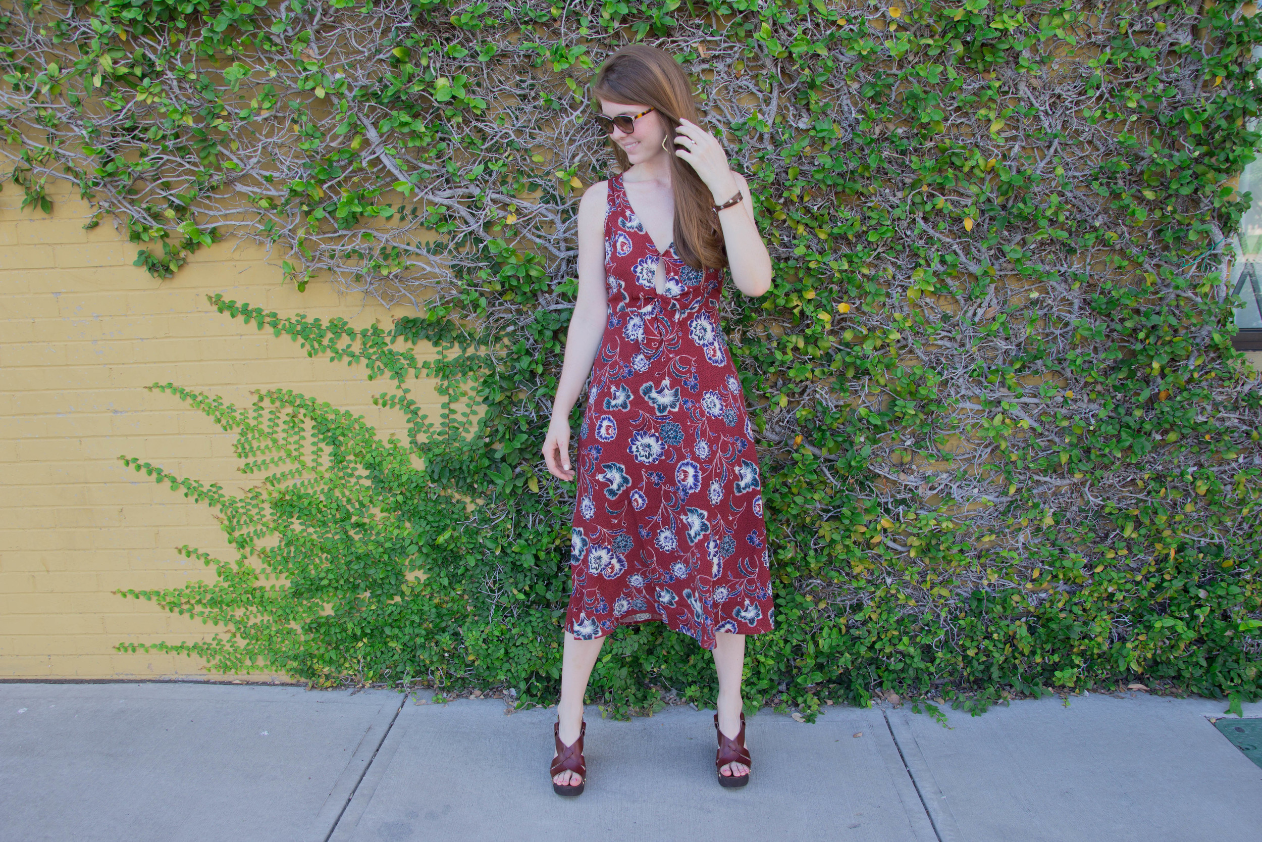 astr floral midi cut out dress, nordstrom, steve madden wedge sandals, ralph lauren sunglasses, kendra scott sophee earrings