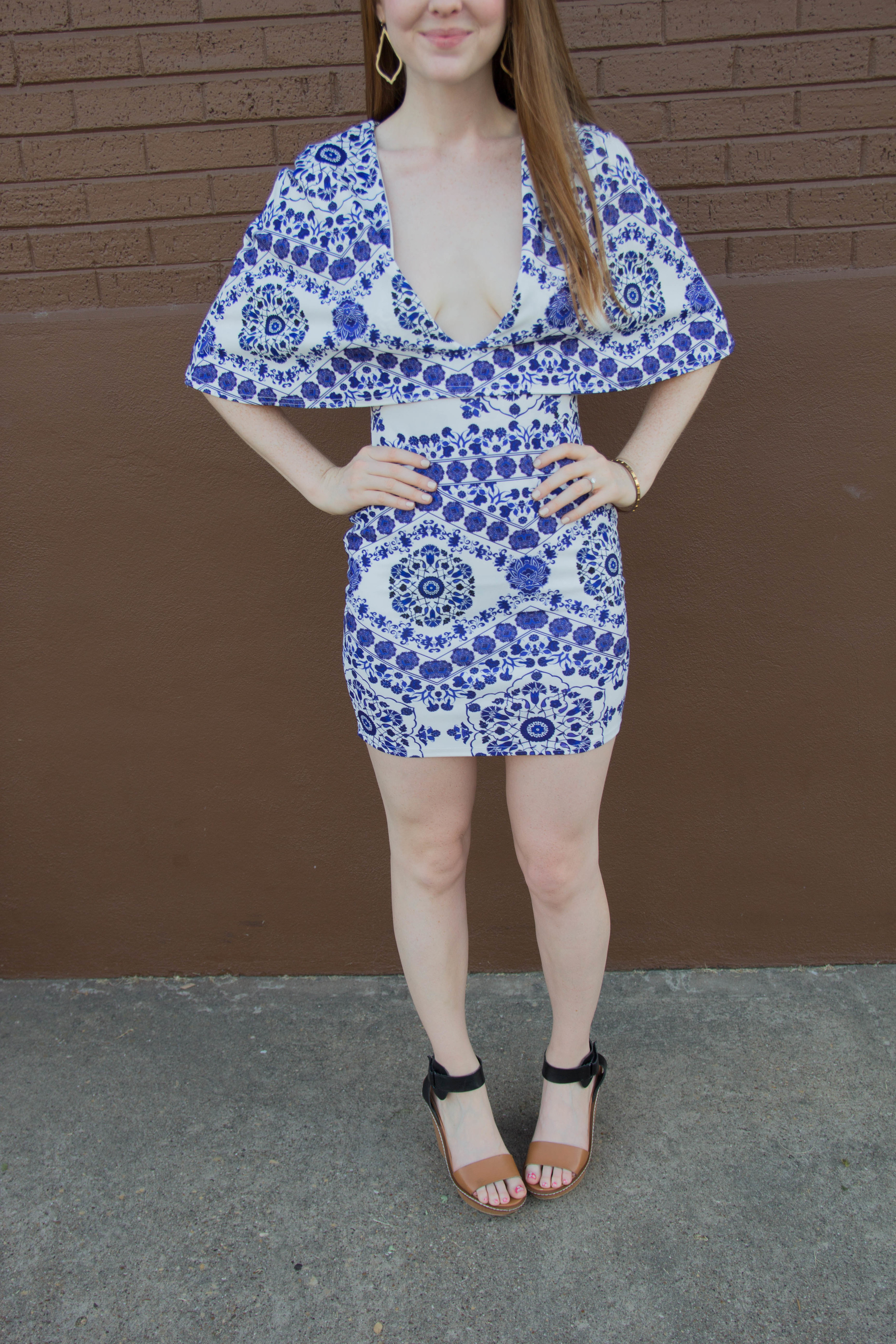 missguided blue and white paisley cape bodycon dress, steve madden wedges, nordstrom, kendra scott sophee earrings, opi be there in a prosecco