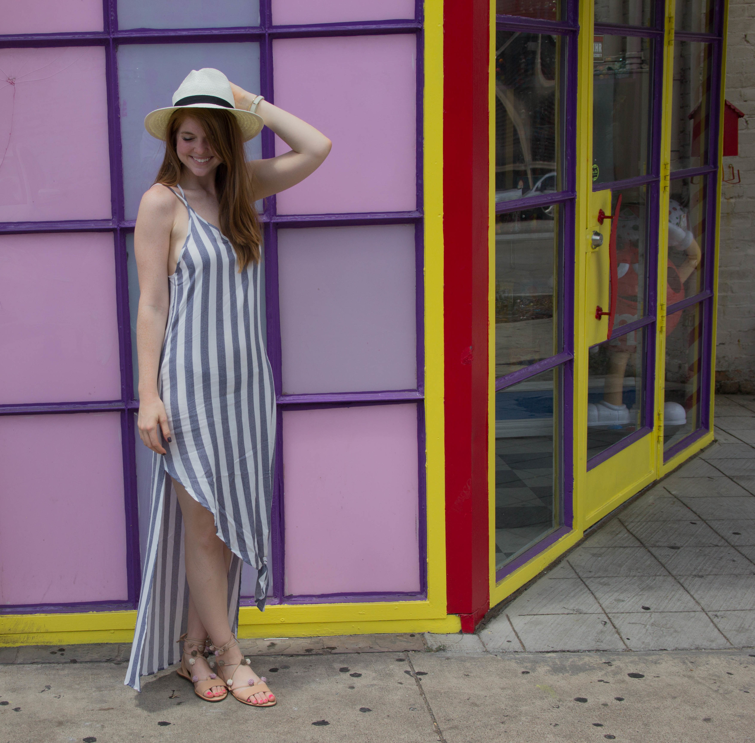 nordstrom bottom knot stripe maxi dress, asos white straw panama hat, kendra scott sophee earrings, loeffler randall lace up pom pom sandals, essie smokin hot, gold arrow cuff, how to tie a knot in clothing, knotted tank, knotted dress