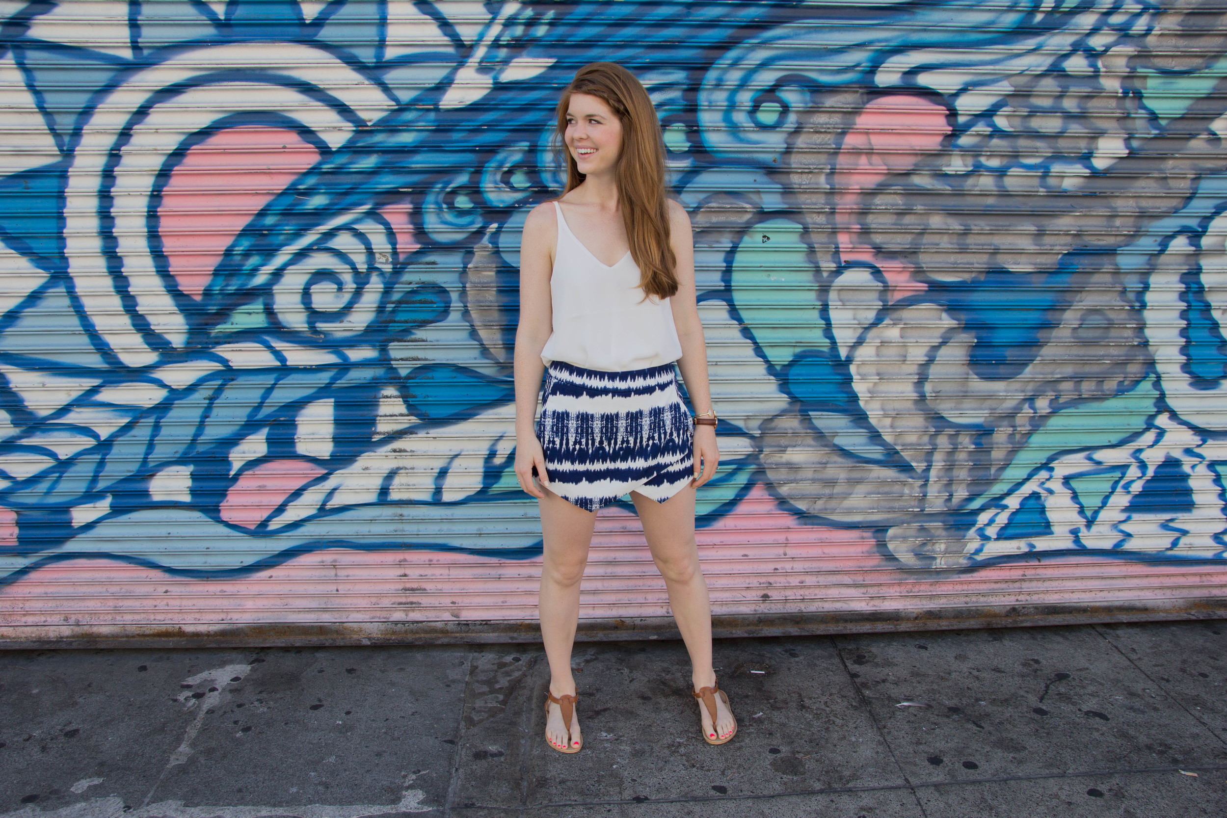 bloomingdales printed blue and white skort, where to get coffee in san francisco, california, topshop strappy camisole, kendra scott elton druzy bracelet