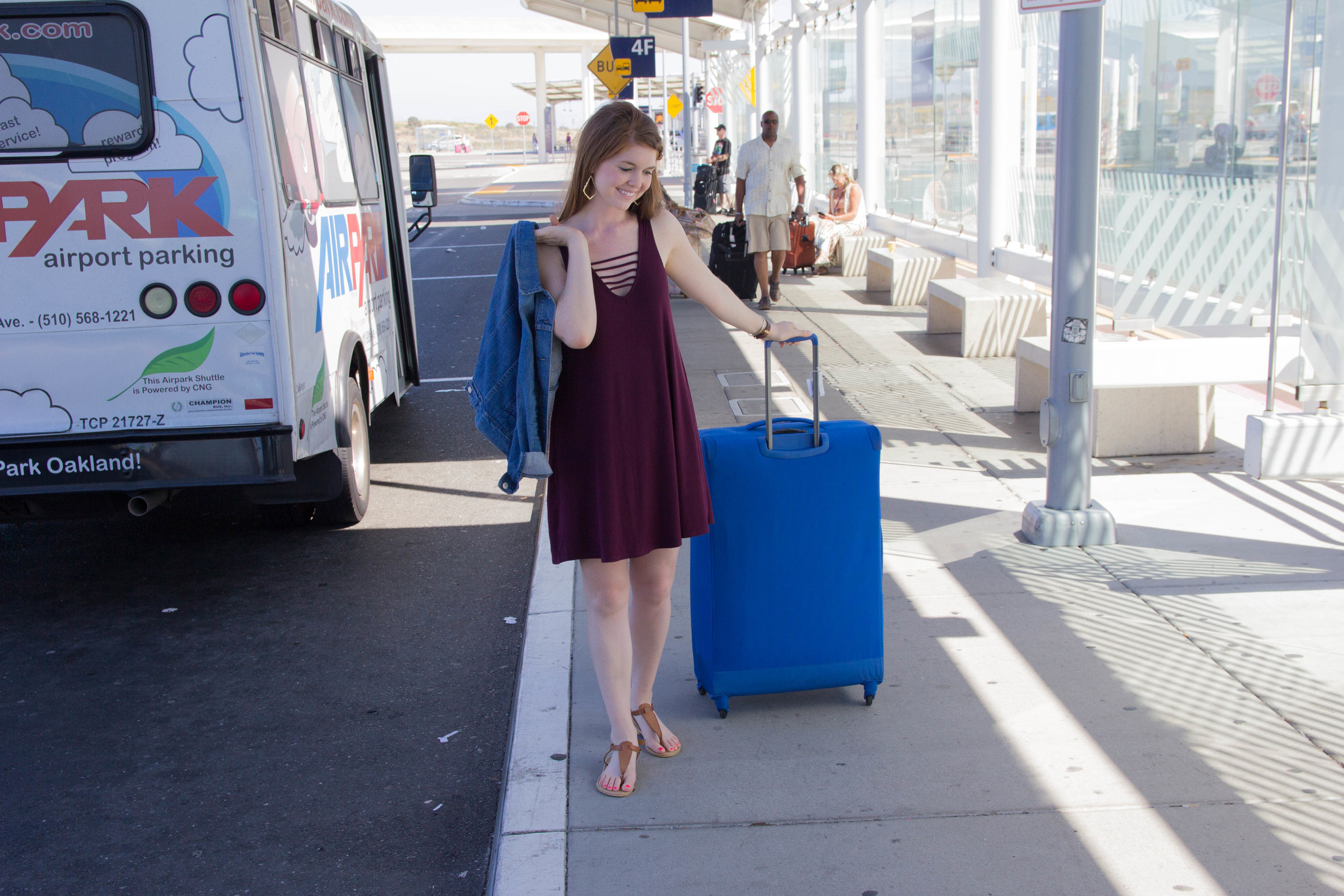 Delsey Chatillon Luggage, What is the best luggage to use for travel, nordstrom strappy tank dress, levi's denim jacket, kendra scott elton cuff, sophee earrings, daniel wellington watch, san francisco, california, packing hacks