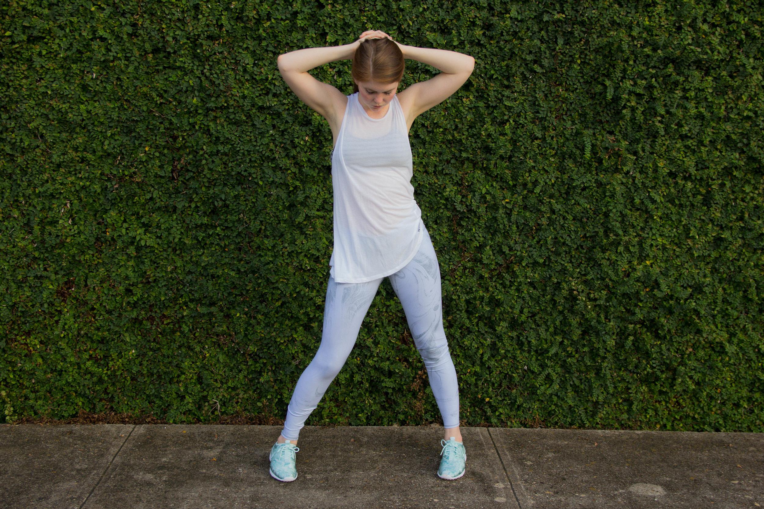 spire fitness tracker, ivy parktank top, alo yoga marble leggings, nike juvenate tennis shoes