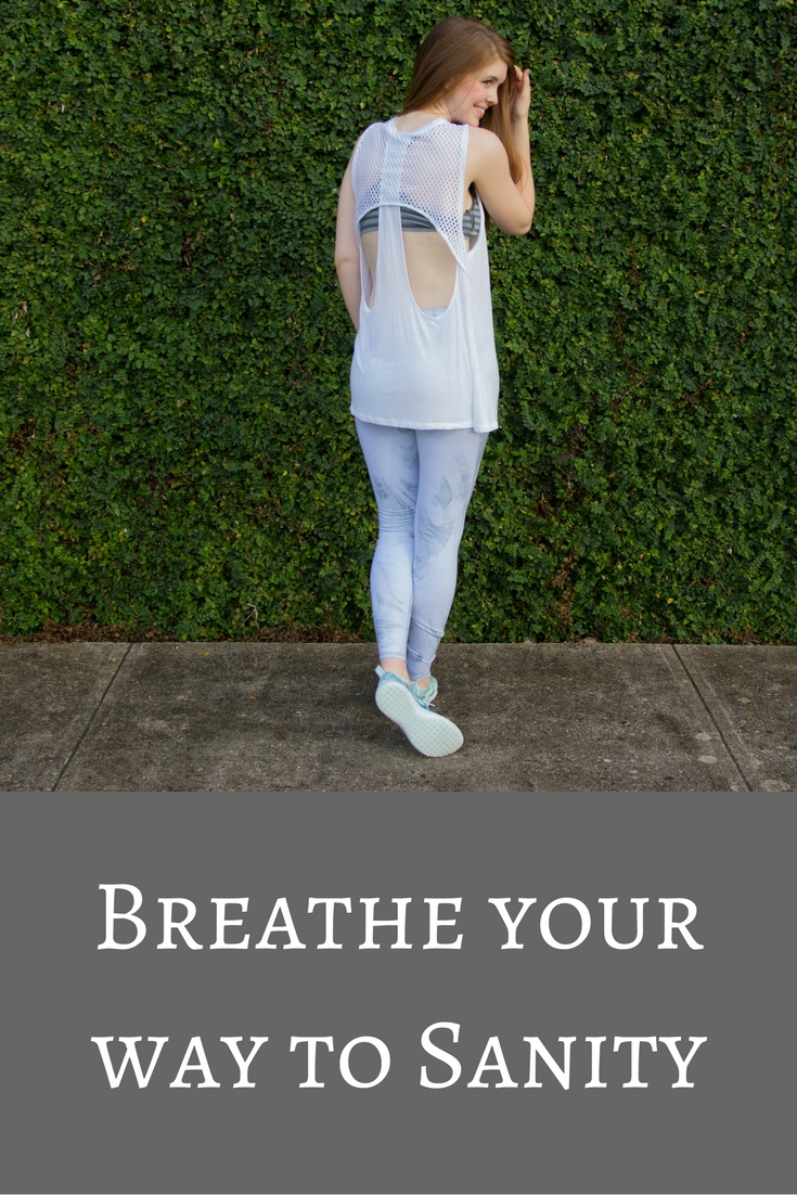 spire fitness tracker, ivy parktank top, alo yoga marble leggings, nike juvenate tennis shoes, breathe your way to sanity