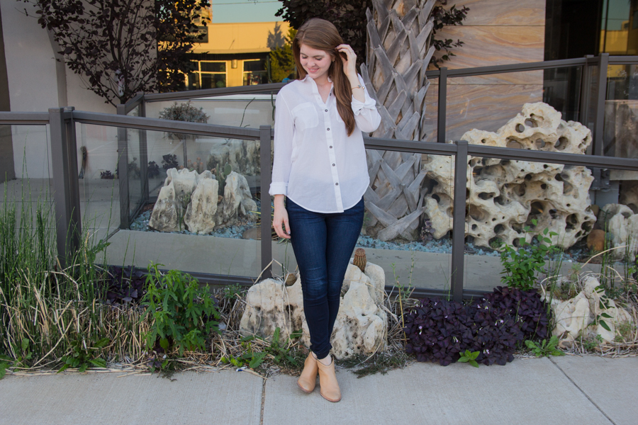 what everyone needs to update in their closet once a year, white button down shirt, investment piece, classic, jeans, booties