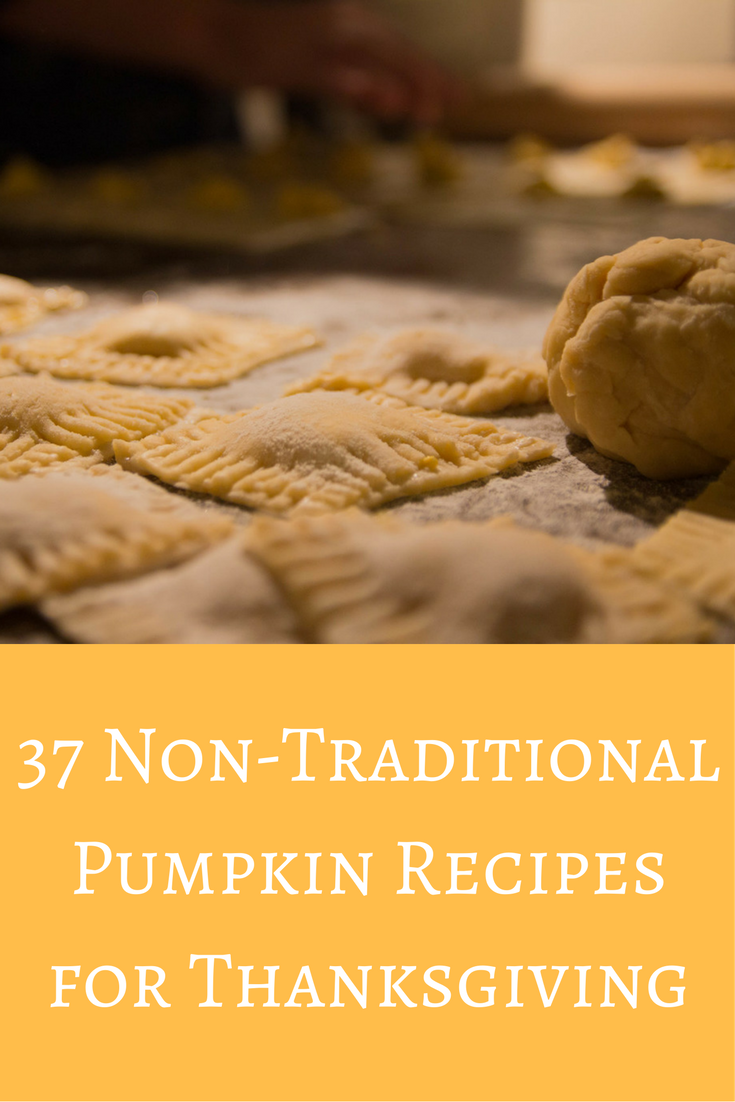 37 non-traditional pumpkin recipes for thanksgiving, friendsgiving recipes, pumpkin recipes, what to do with leftover thanksgiving turkey, pumpkin goat cheese raviolis, crate and barrel thankful collection