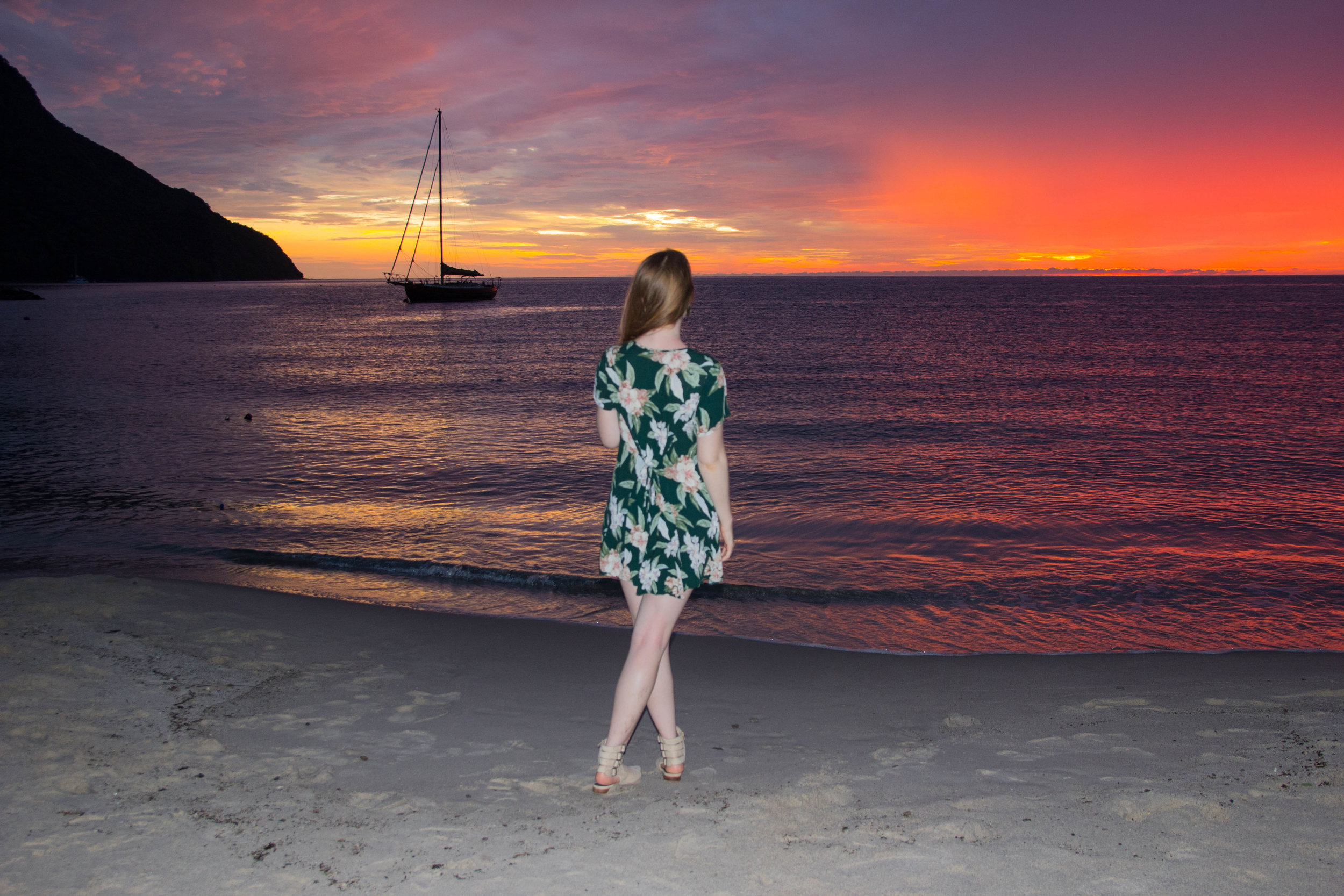 show me your mumu bennet babydoll dress forest florist cloud, saint lucia, sugar beach a viceroy resort, the art of versatility, floral dress styled for summer and fall, styling tips, investment shopping, sunset, caribbean island