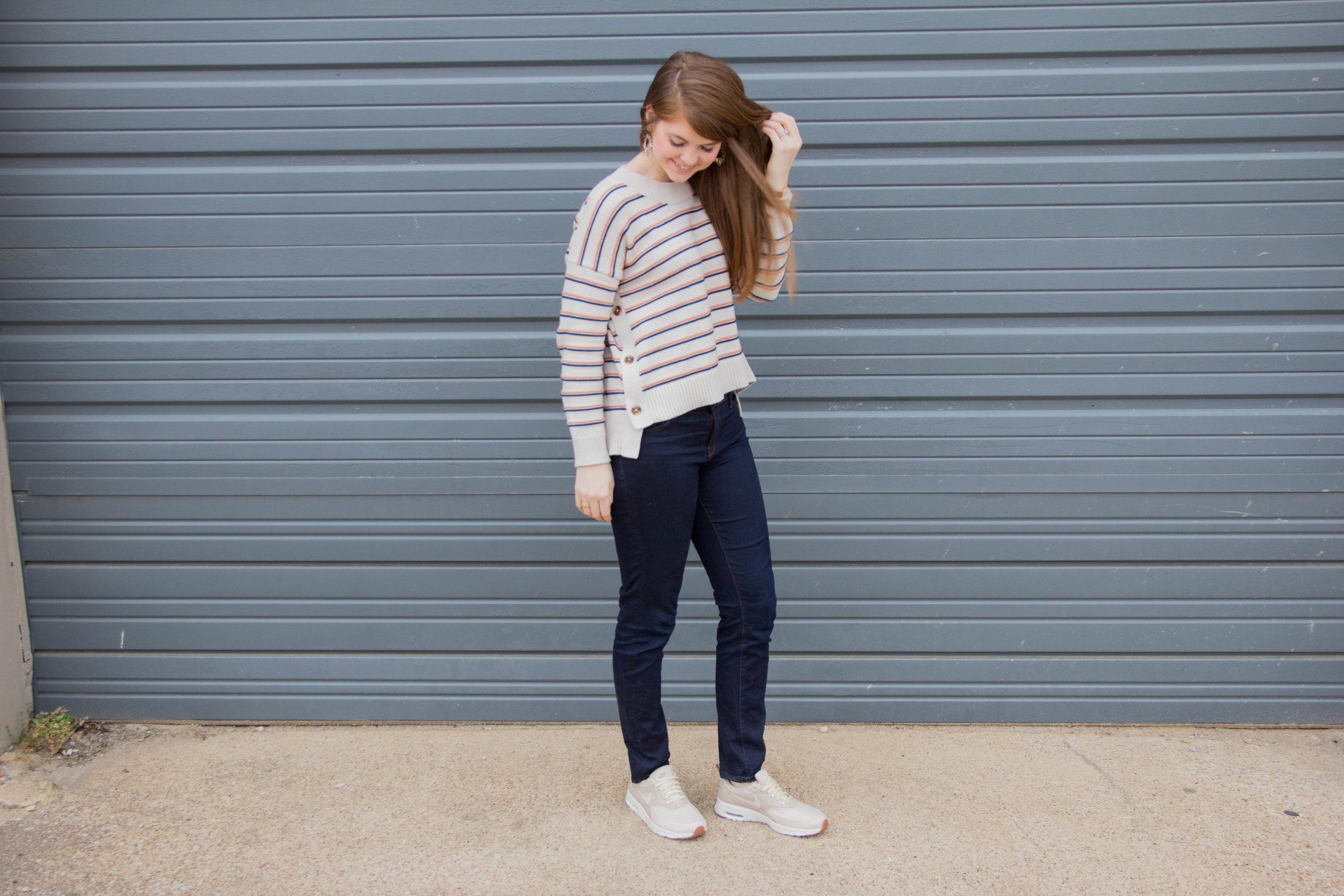 nike air max thea, nike tennis shoes, j brand jeans, madewell sweater, baublebar earrings