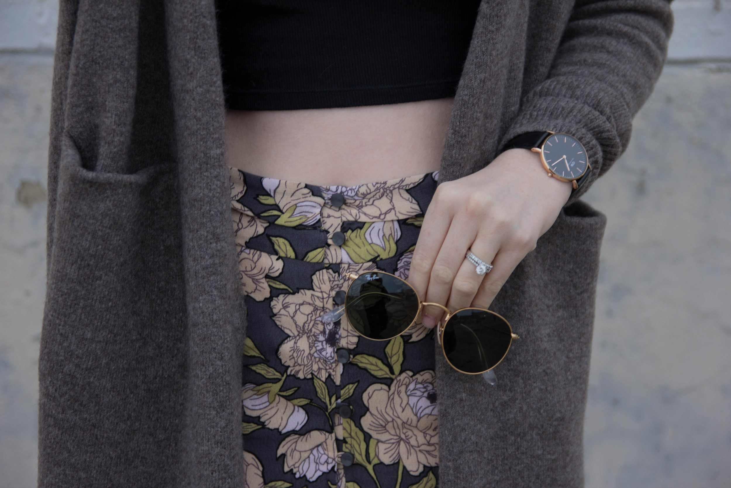 Ray-ban 50mm Aviator Sunglasses, daniel wellington classic black, madewell long cardigan, vince camuto kayleena tassel platform loafer, marc fisher annie wedges, floral flounc maxi skirt, trend alert, smaller round sunglasses