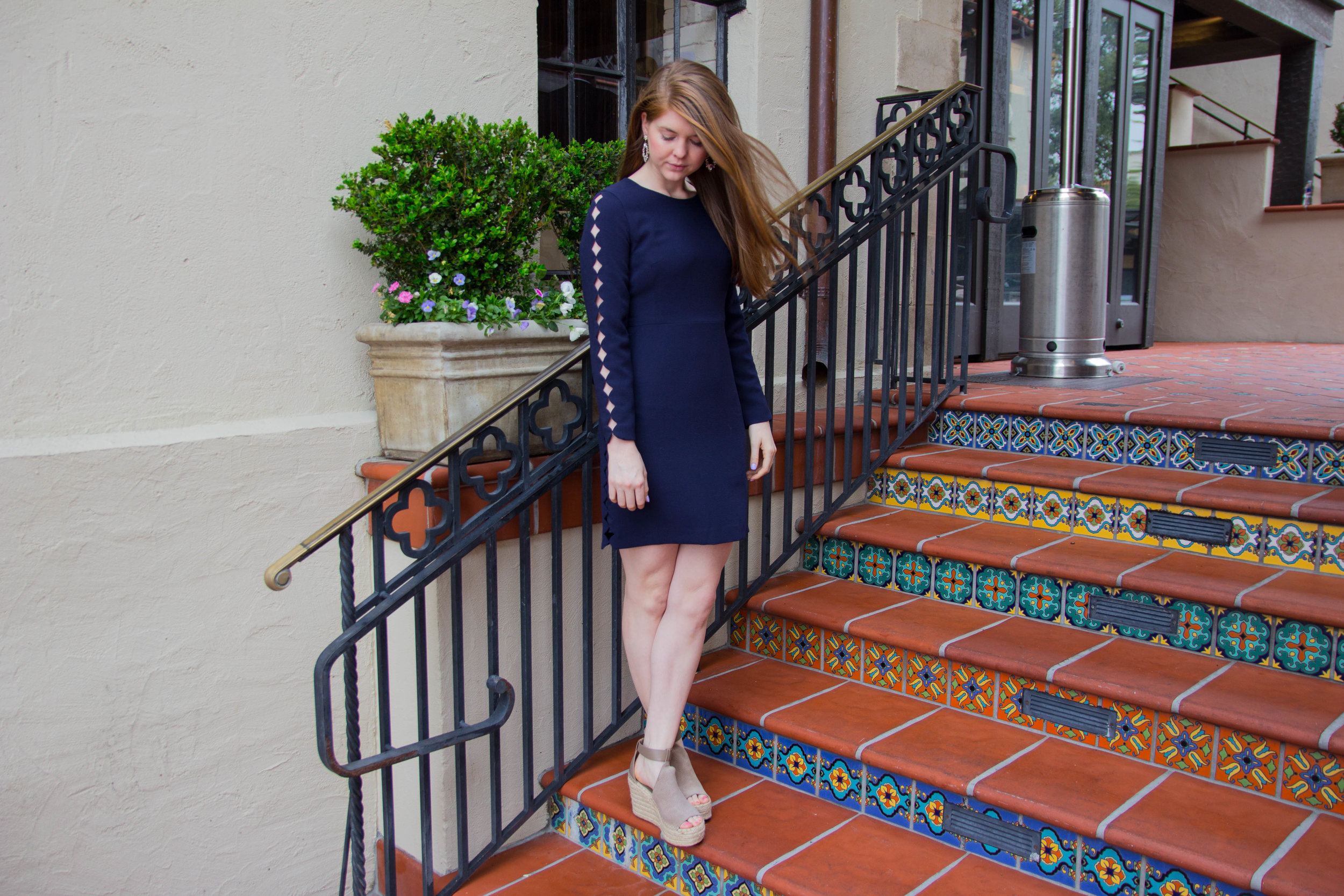 pre-fall trend recap, club monaco, edni dress, laser cuts, marc fisher annie wedges, baublebar earrings, nyfw, new york fashion week,  2017, highland park village