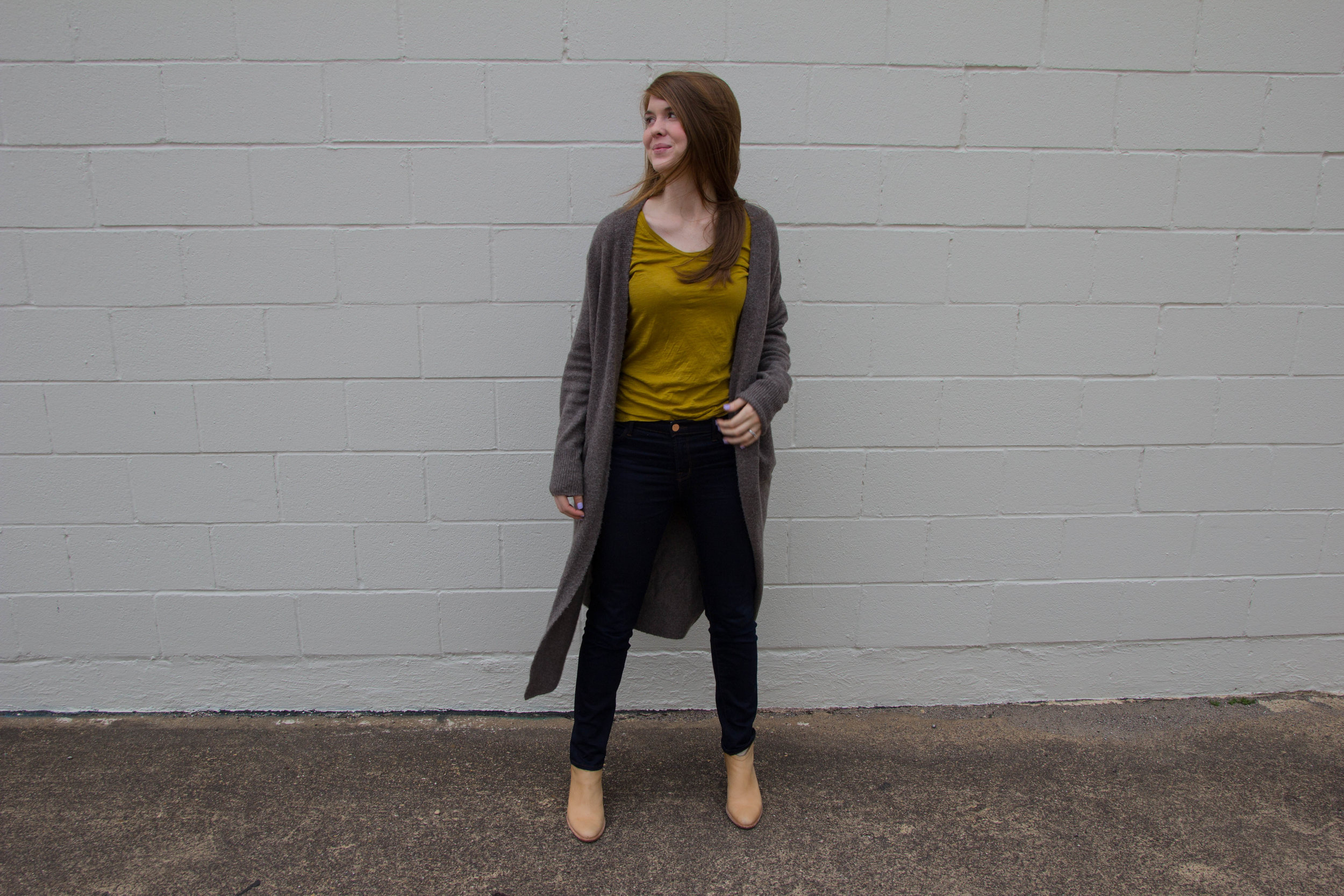 the long cardigan, madewell fireside cardigan, chartreuse, dolce vita haku booties, j brand jeans, trends, trendy