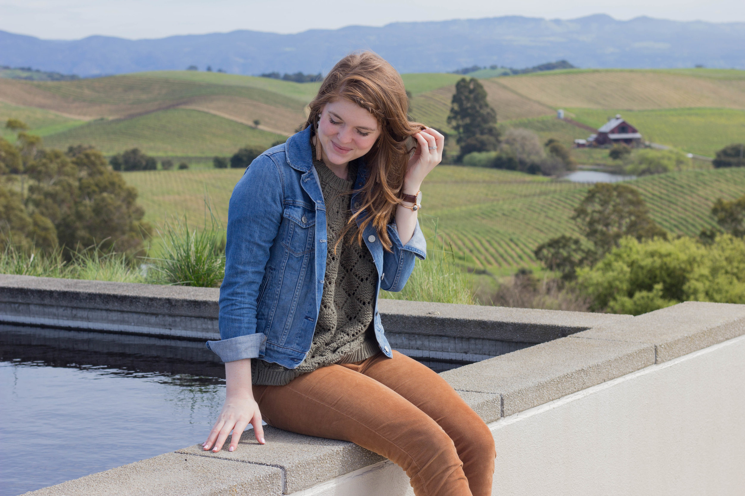 abercrombie sweater, levi's jacket, tips for wine  tasting in napa valley, sonoma, napa, visit california, wine tasting tips, san francisco, oakland,